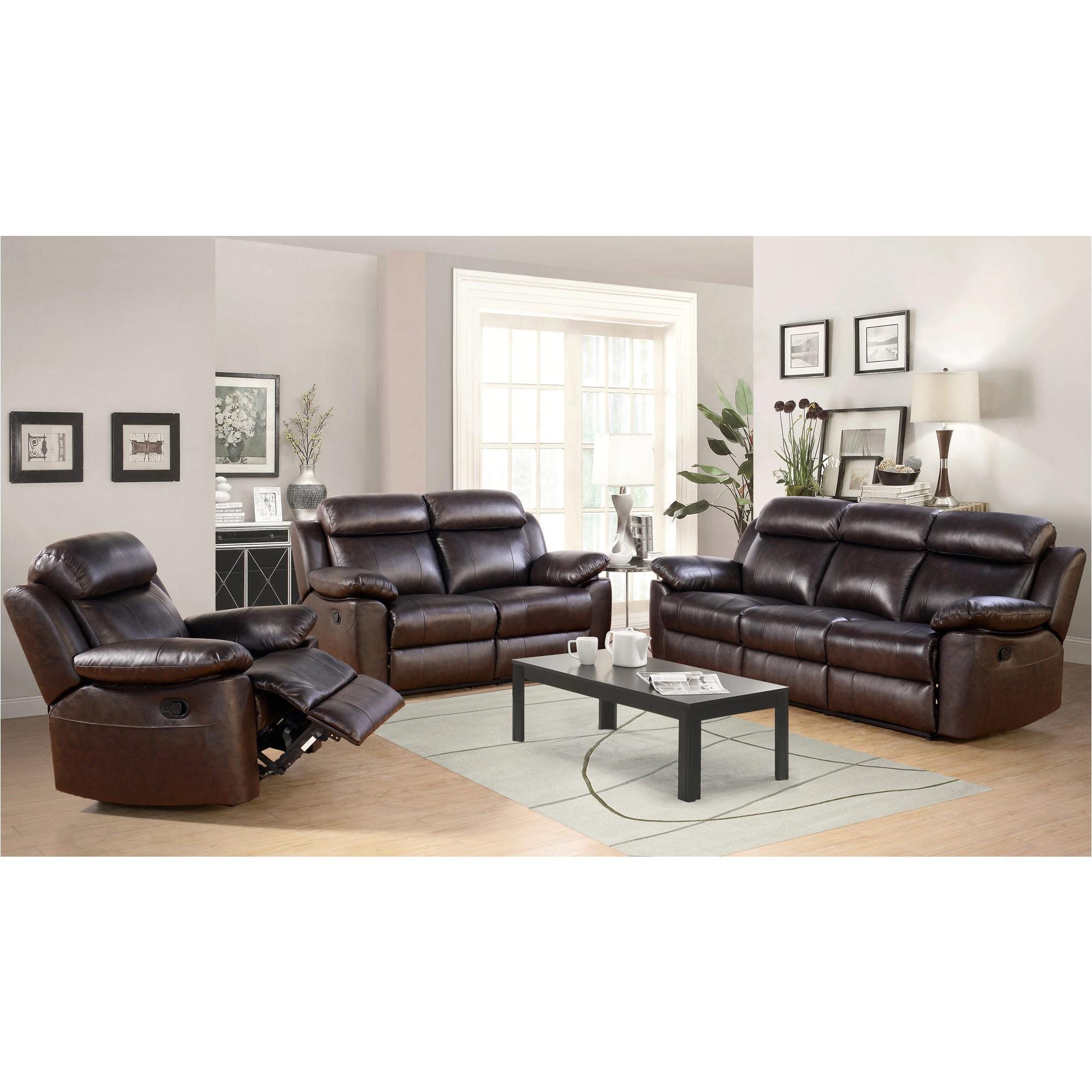 leather 3 piece sofa set new abbyson living braylen 3 pc reclining set brown bjs wholesale