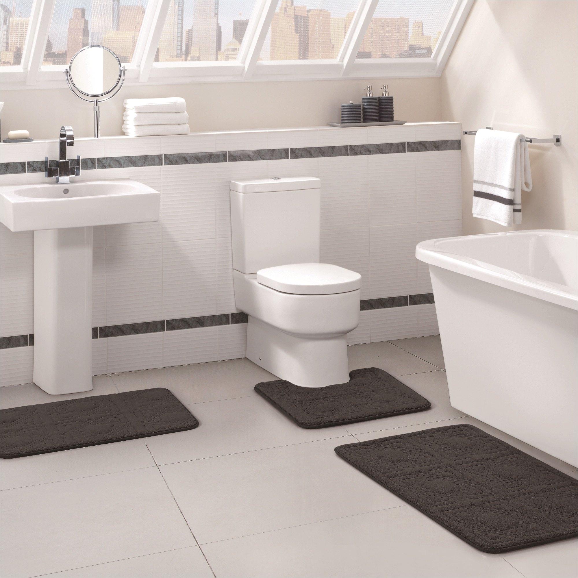vcny home byzantine memory foam embossed 3 piece bath rug set