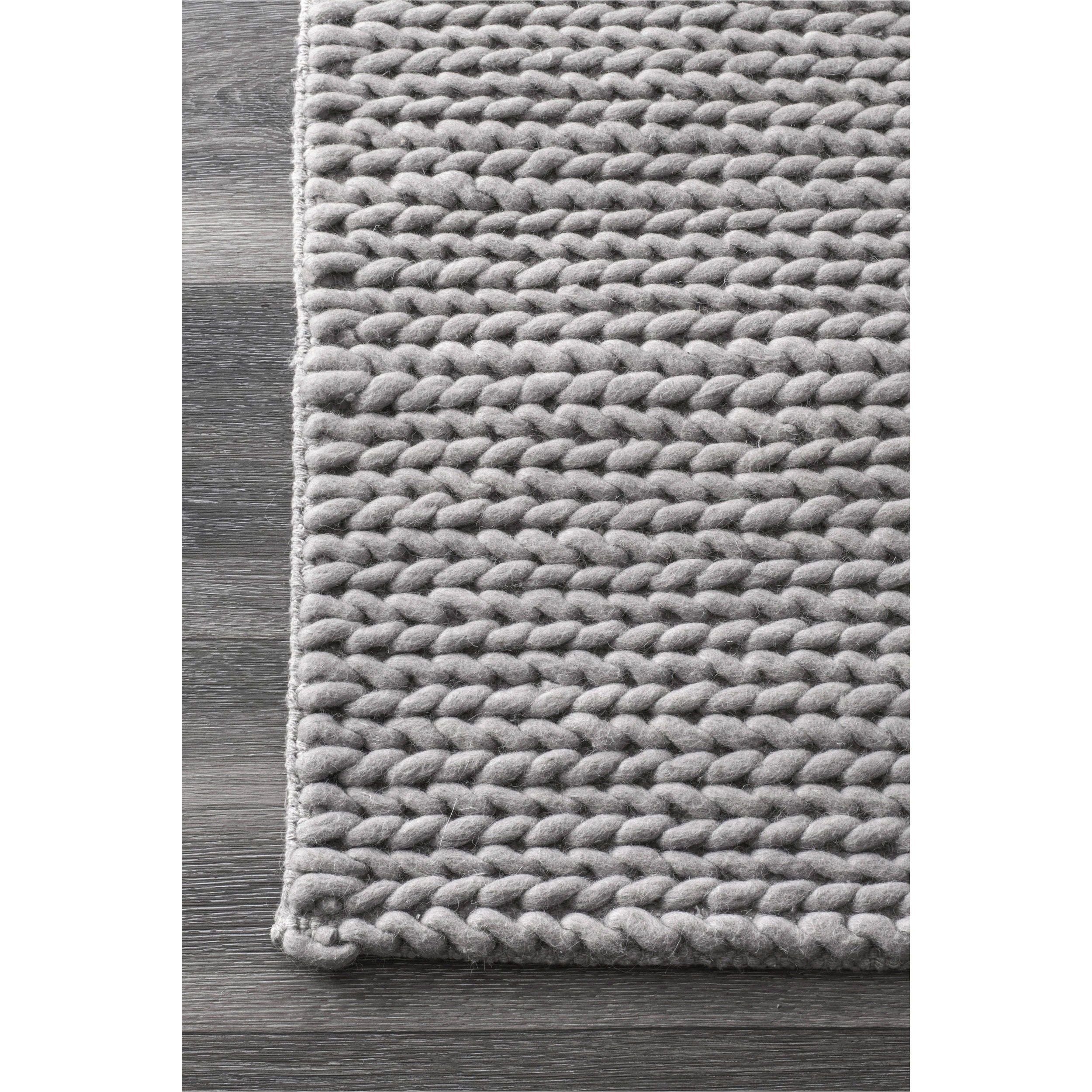 nuloom handmade chunky braided light grey wool runner rug 2 6 x 8 overstock com shopping the best deals on runner rugs