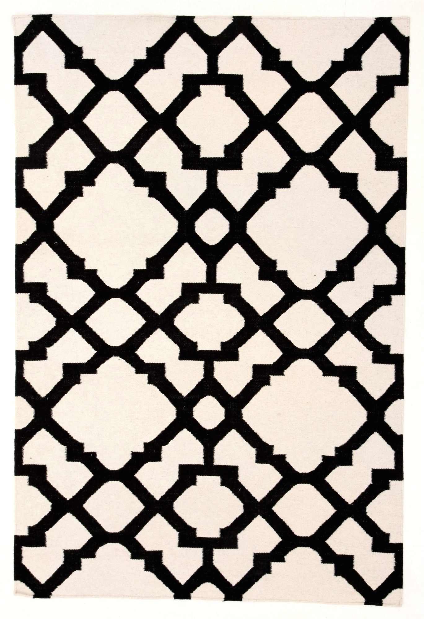 istanbul black white lattice flatweave rug