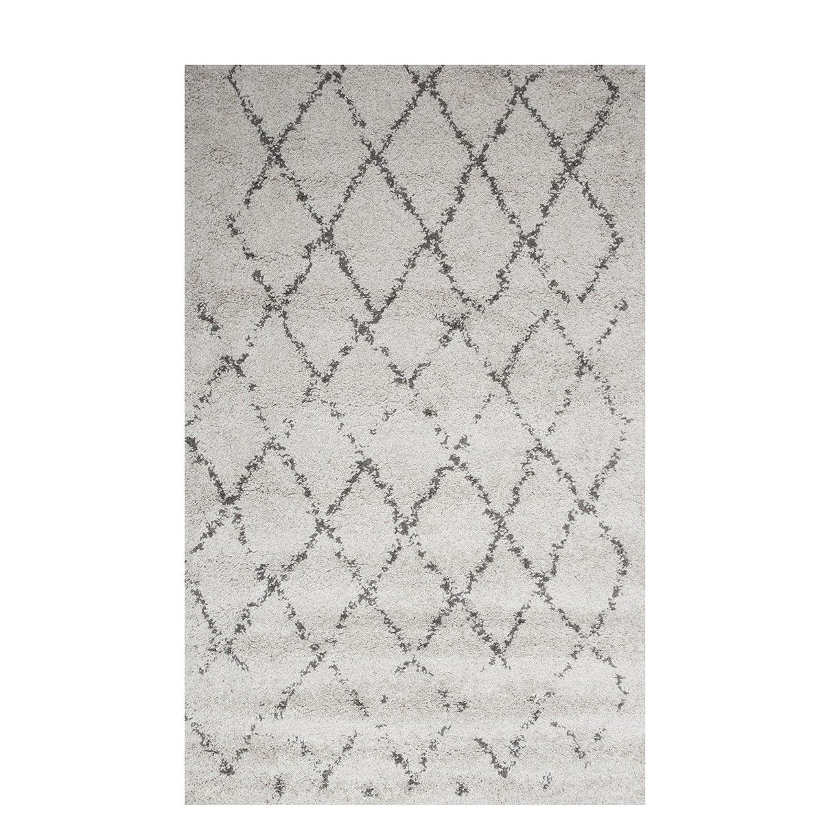 Black and White Aztec Print Rug Large Trellis Cream Shaggy Rug Moroccan the Rug House Wool