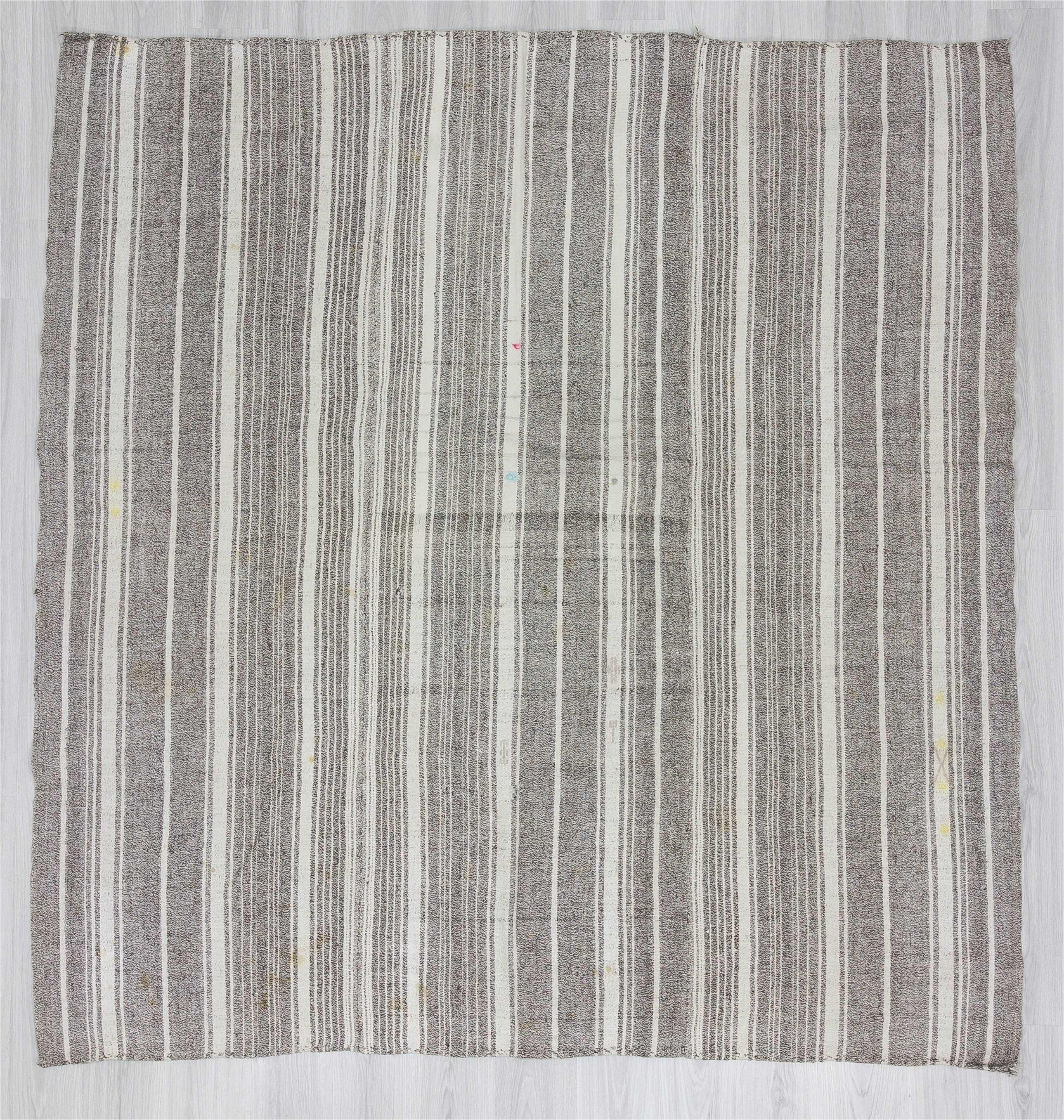 1216 white gray striped vintage modern turkish kilim