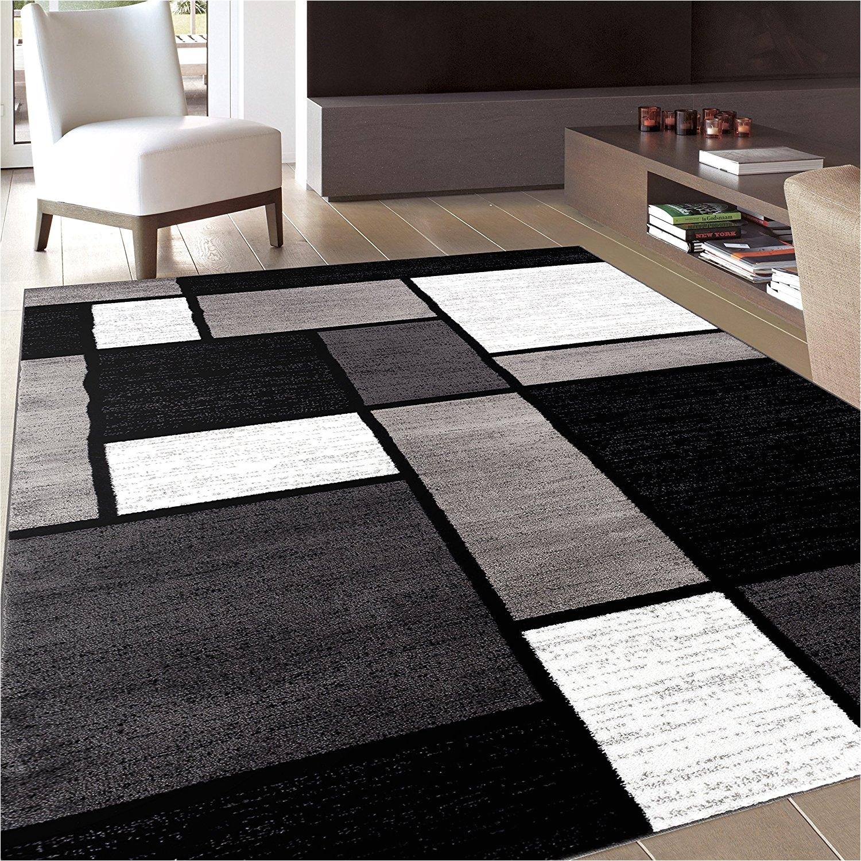 black and white area rugs amazon com rug decor contemporary modern boxes area rug
