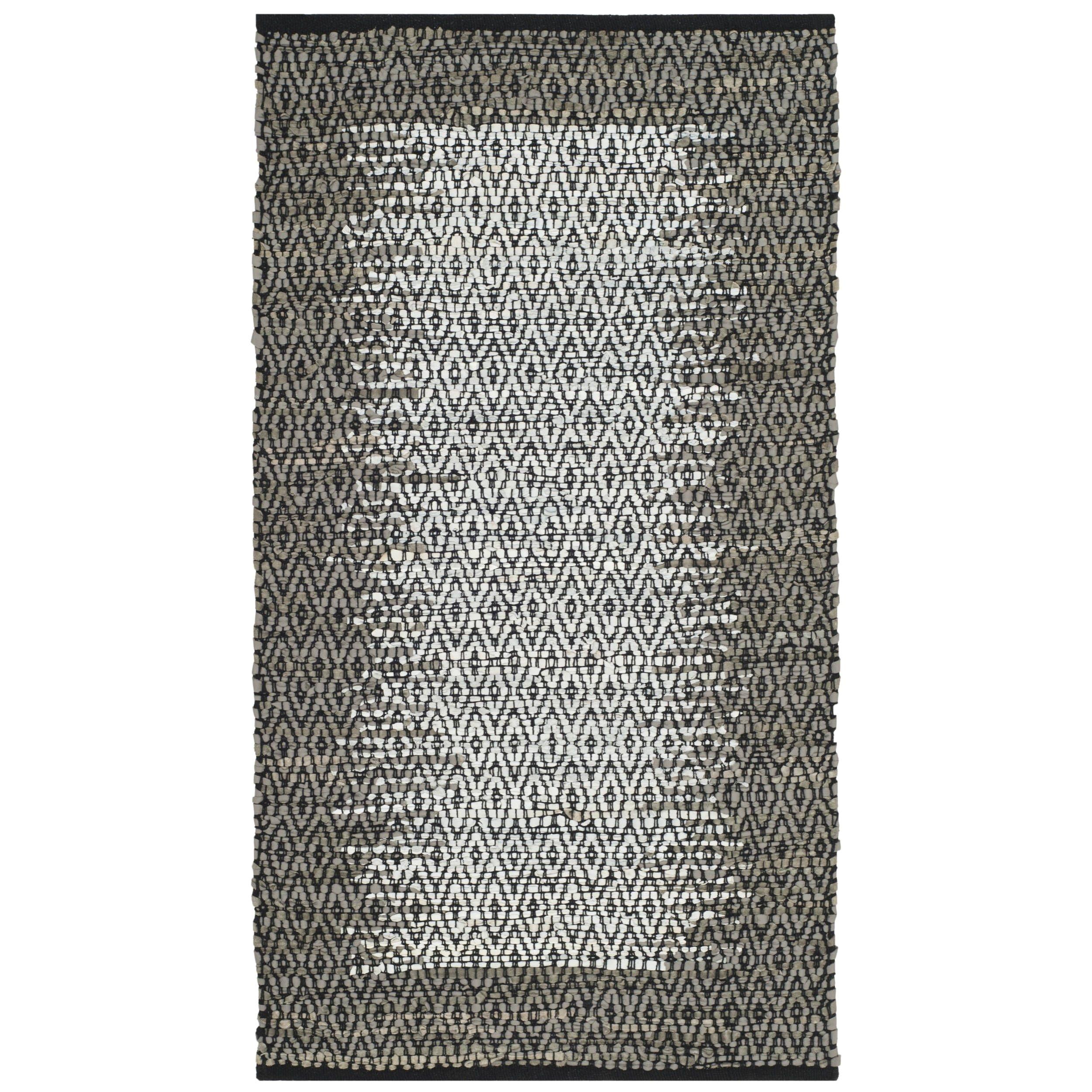safavieh vintage leather handwoven modern geometric light grey grey area rug 2 3 x 4 vtl387a 24 size 2 x 4