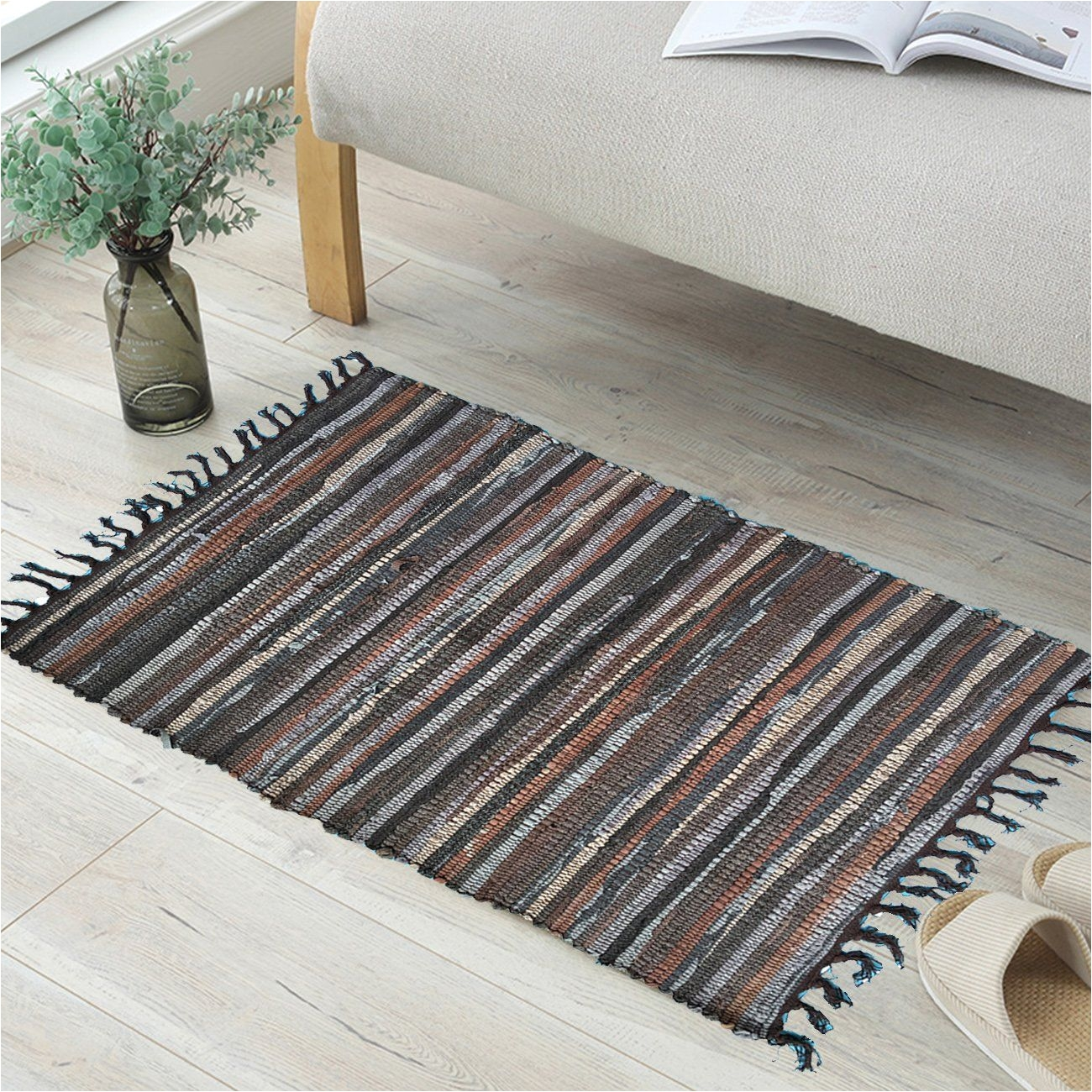 anjuren multifunction reversible durable color stripe area rugs rags hand woven washable runner rug carpet mat