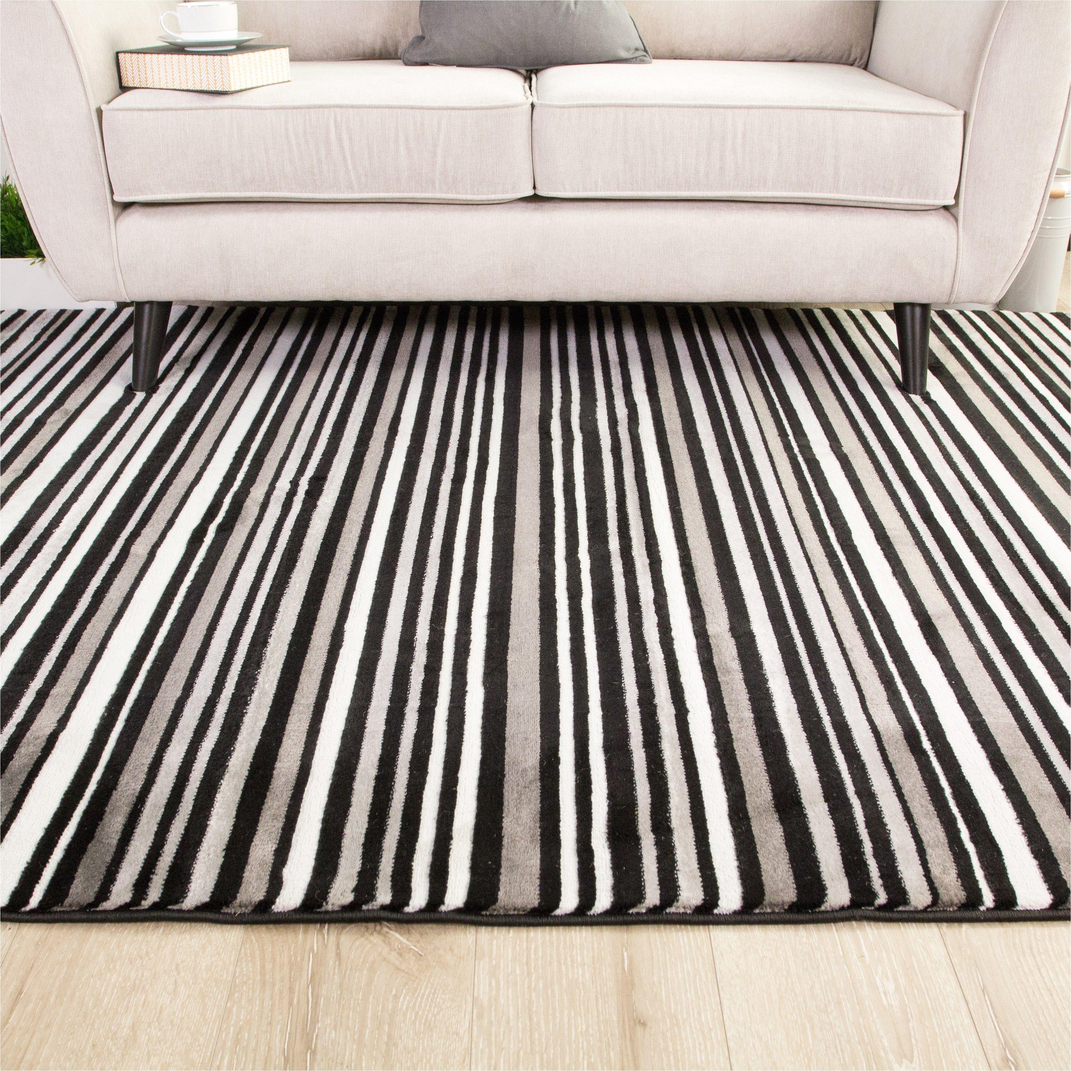 Black And White Striped Runner Rug Hallway Sardinia