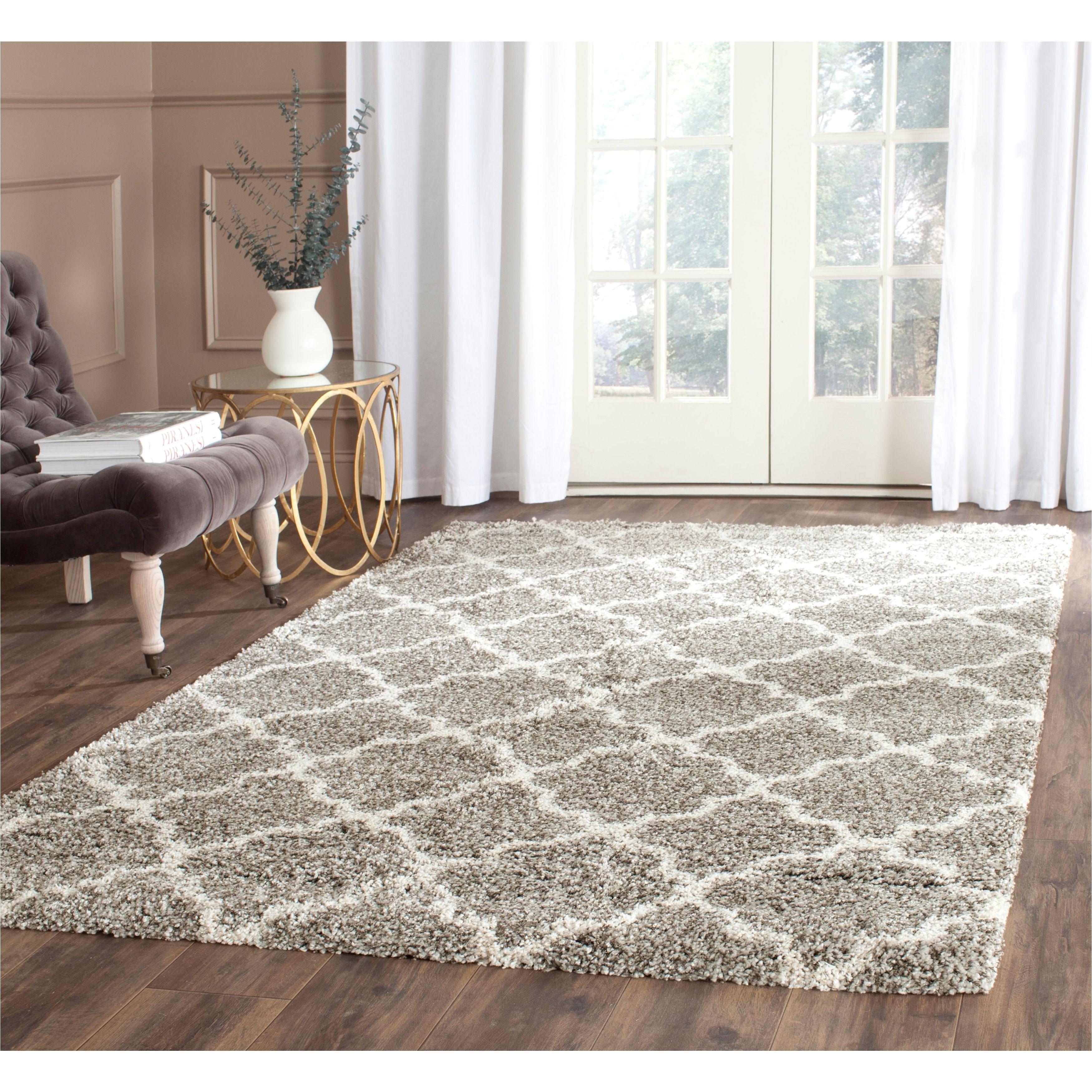safavieh hudson quatrefoil shag grey ivory rug 7 square sgh282b 7sq size 7 x 7 polypropylene trellis