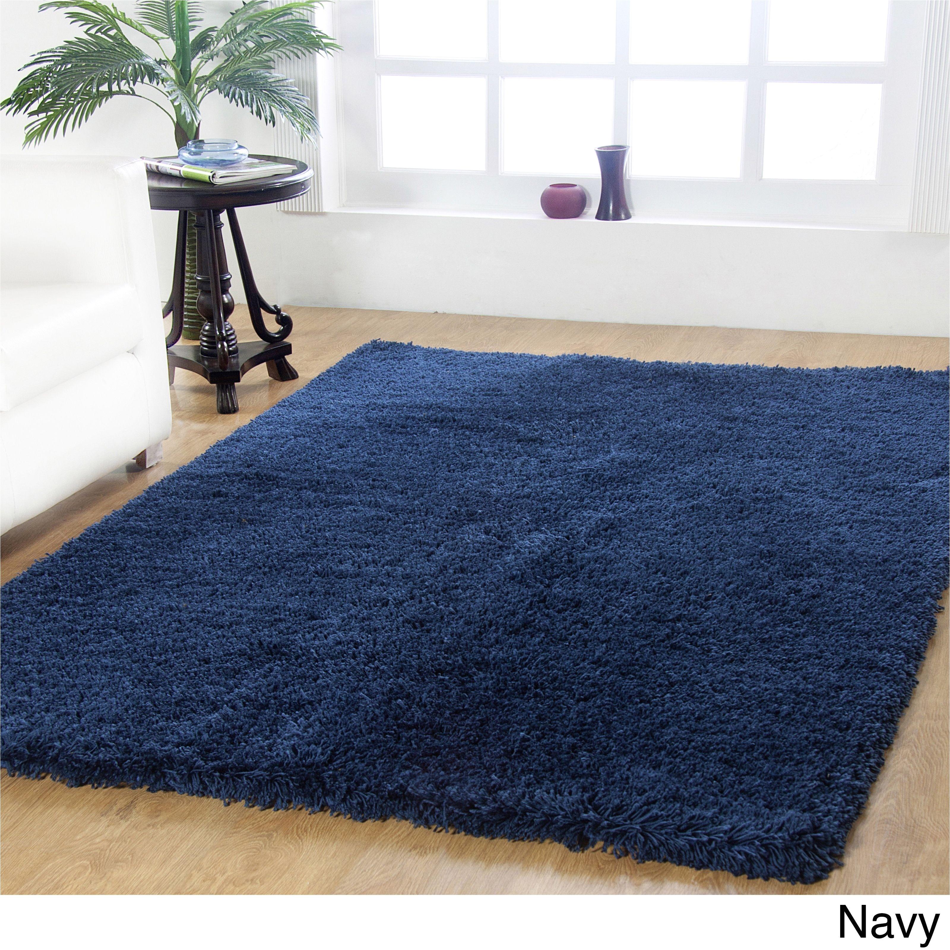 affinity home soft luxurious plush shag rug 4 x 6 navy blue size 4 x 6