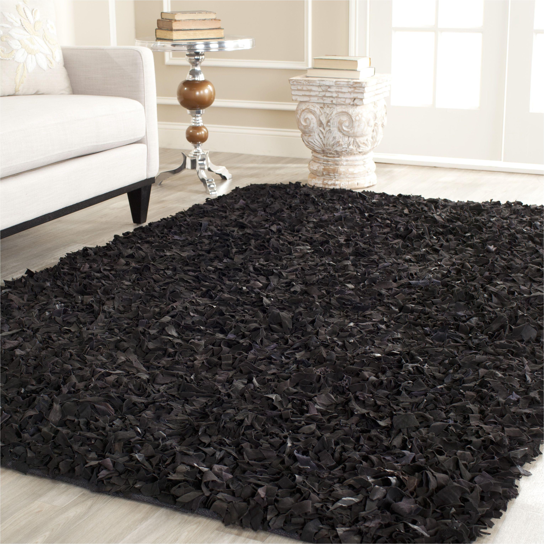beautiful black shag area rug