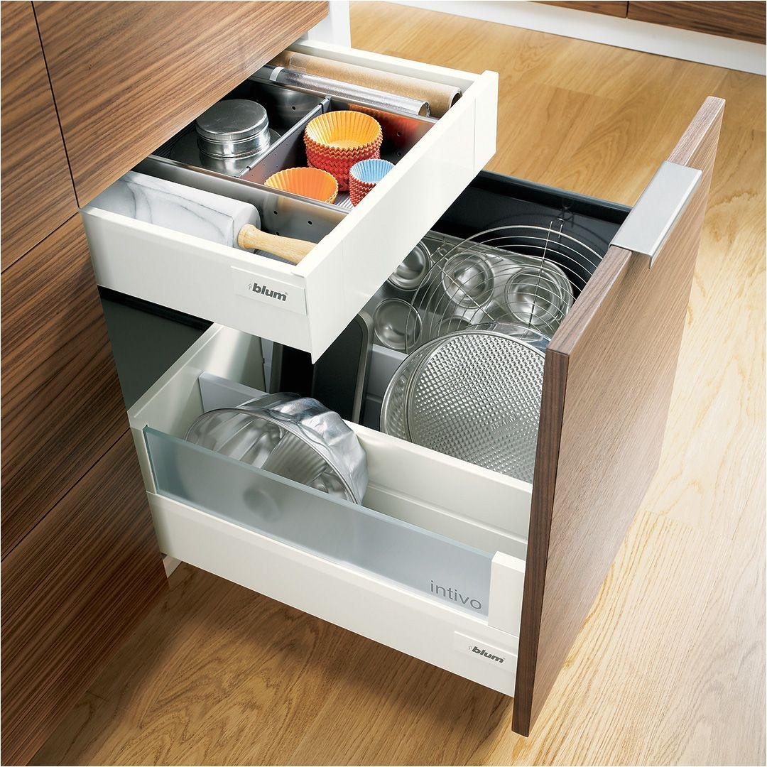 blum tandembox intivo silk white inner drawer with orga line for baking utensils