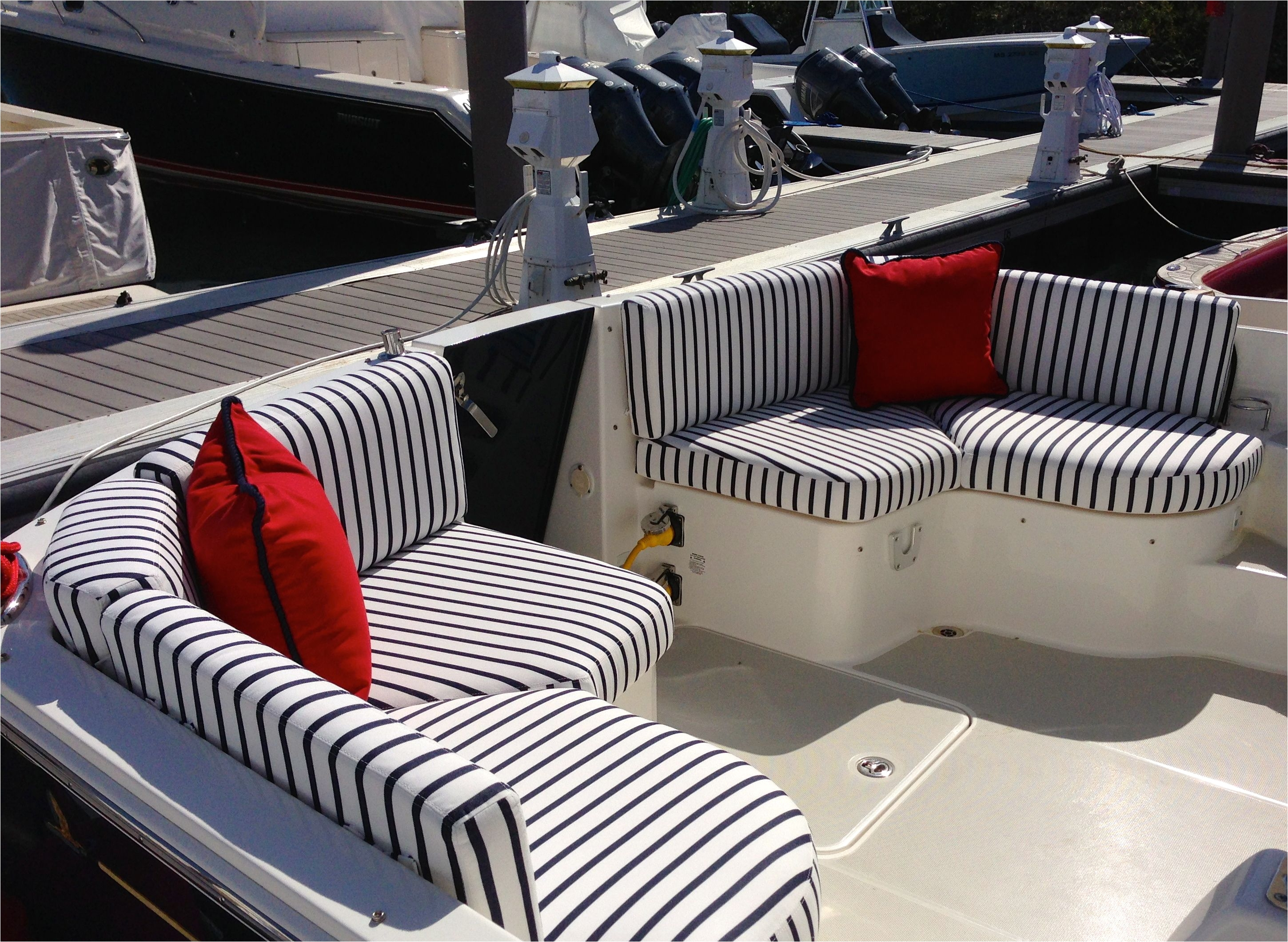 Boat Interior Restoration Ideas Red White Blue Cockpit Boston Yacht Sales Custom Fabrics S S