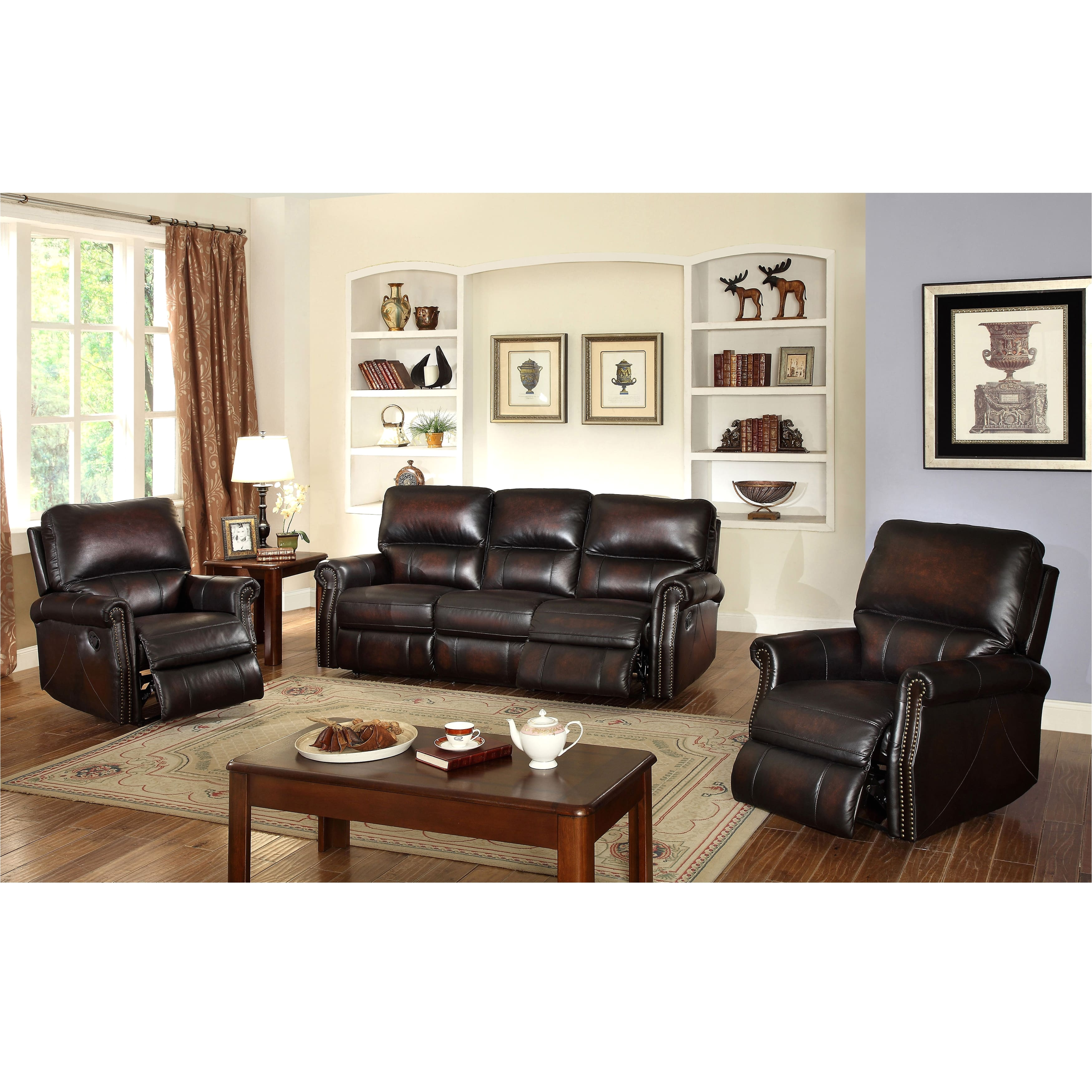 shop crestview dark brown top grain leather lay flat reclining sofa and two recliner chairs on sale free shipping today overstock com 9556560