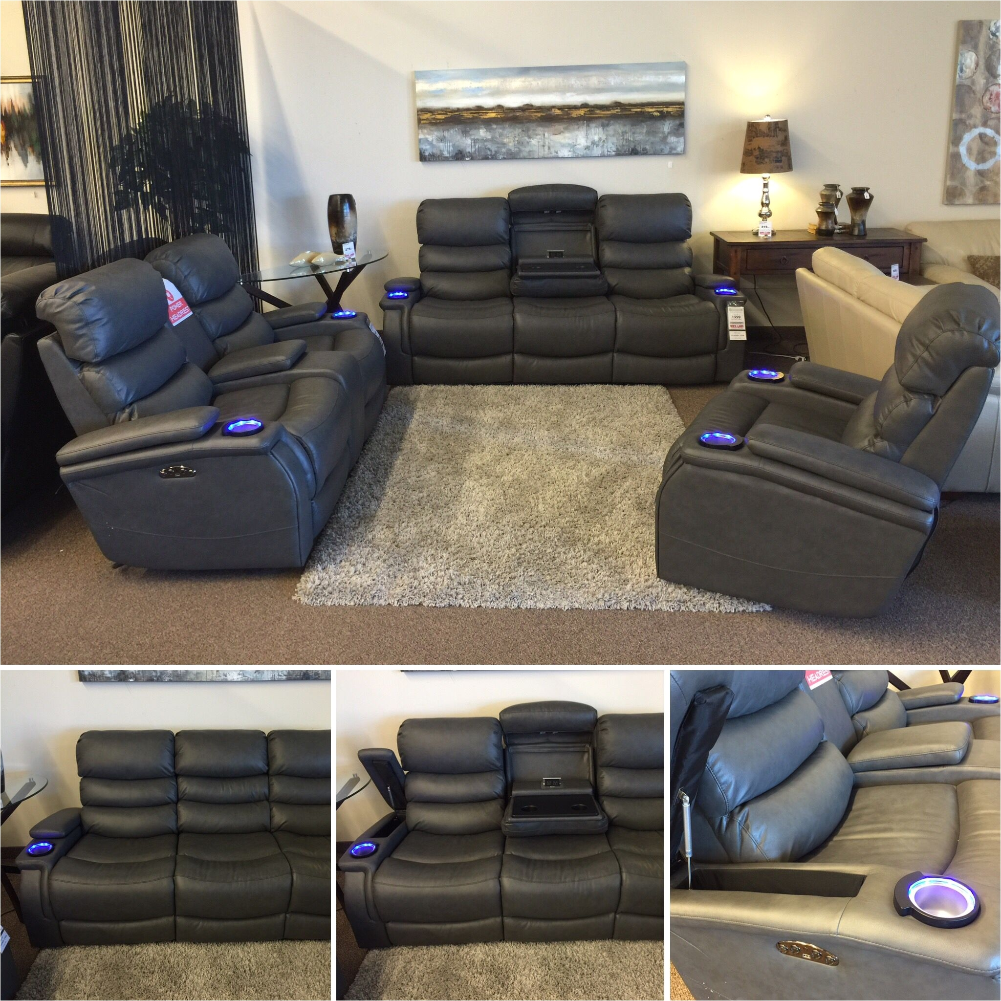 this sofa is so awesome power recline power adjustable headrests led cup holders
