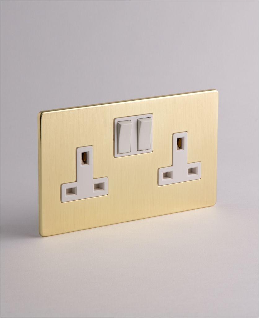 gold white 2 gang socket
