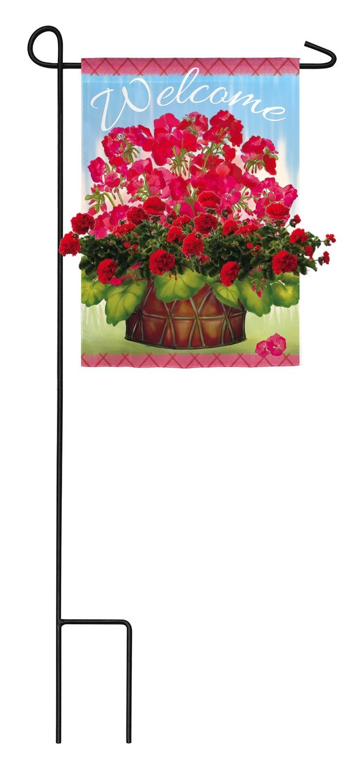 bloom pockets geranium pot garden flag