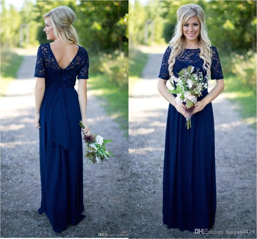 Cap Sleeve Bridesmaid Dresses Floor-length 2018 Country Bridesmaid Dresses Hot Long for Weddings Navy Blue