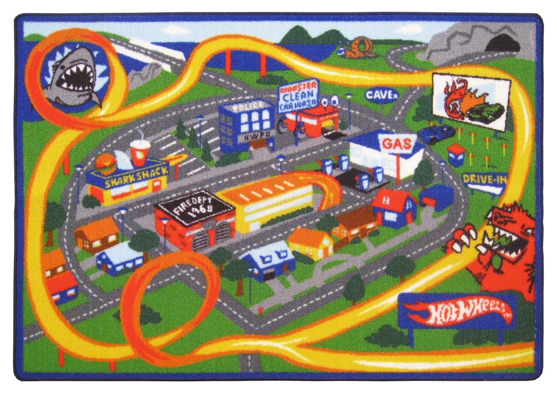 amazon com hot wheels racing play rug toys games
