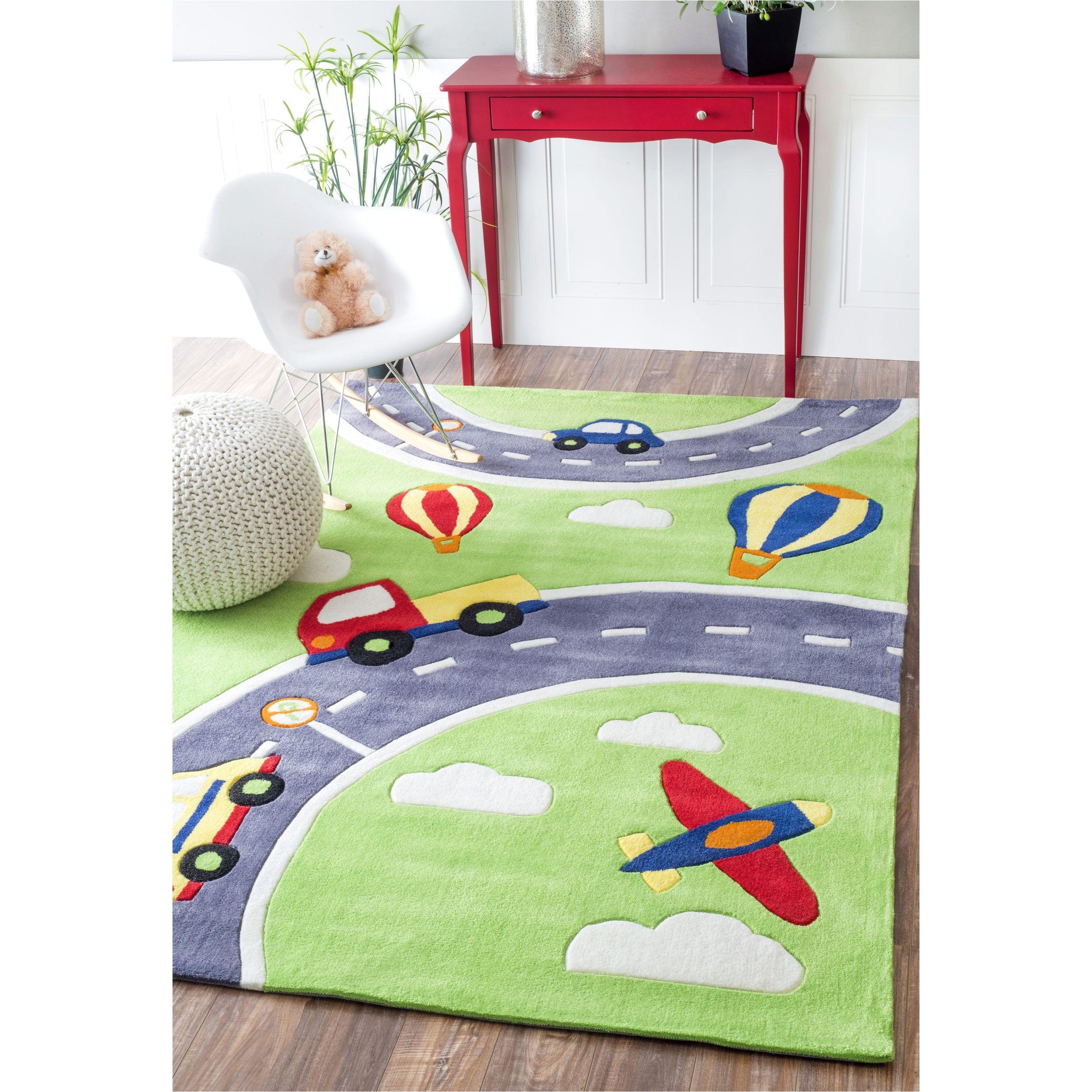 nuloom handmade modern city cars kids nurserygreen rug 5 x 7 6