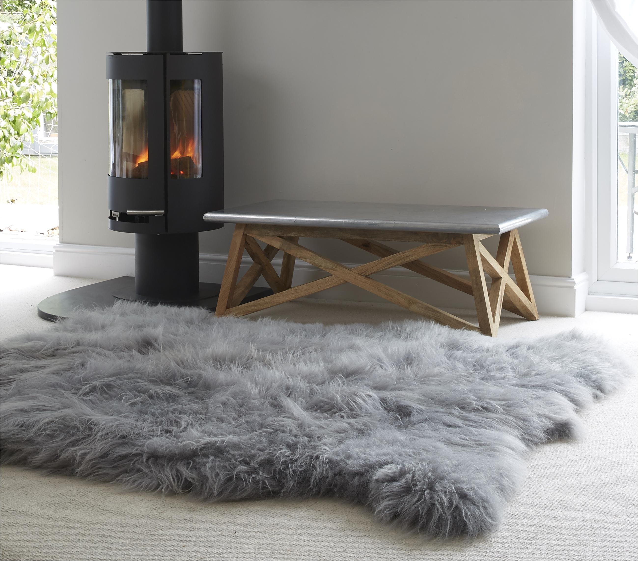 super big fur rug large grey cievi home