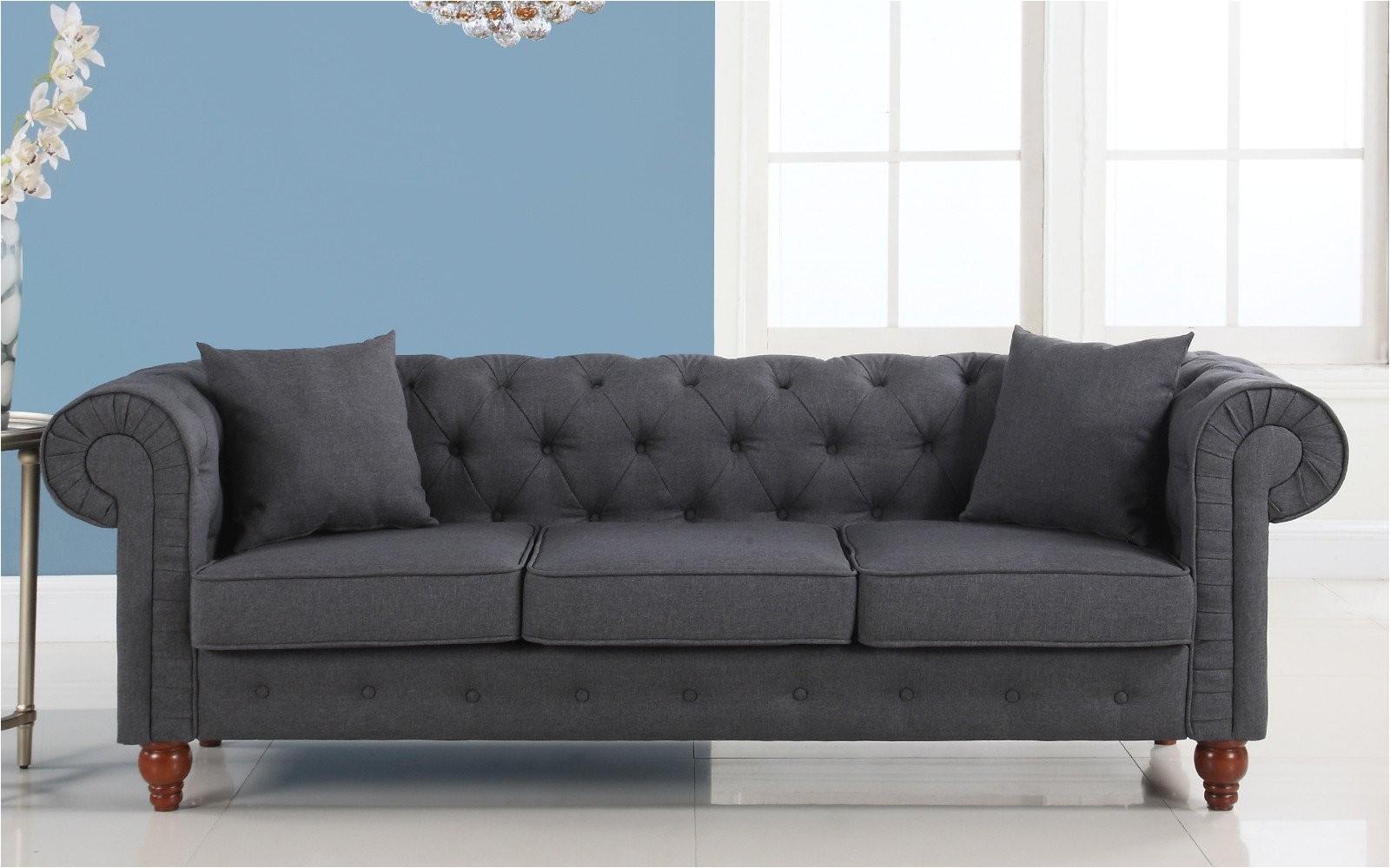 Chesterfield sofa Gray Stratford Classic Grey Fabric Chesterfield sofa In Dark Grey 399