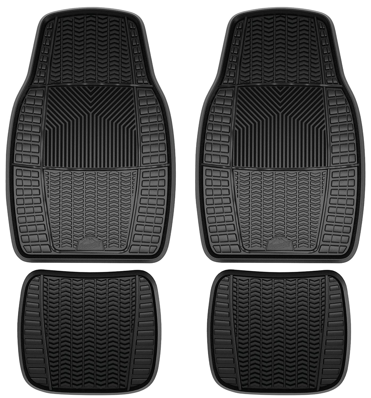 amazon com armor all 78895 4 piece black heavy duty rubber floor mat automotive