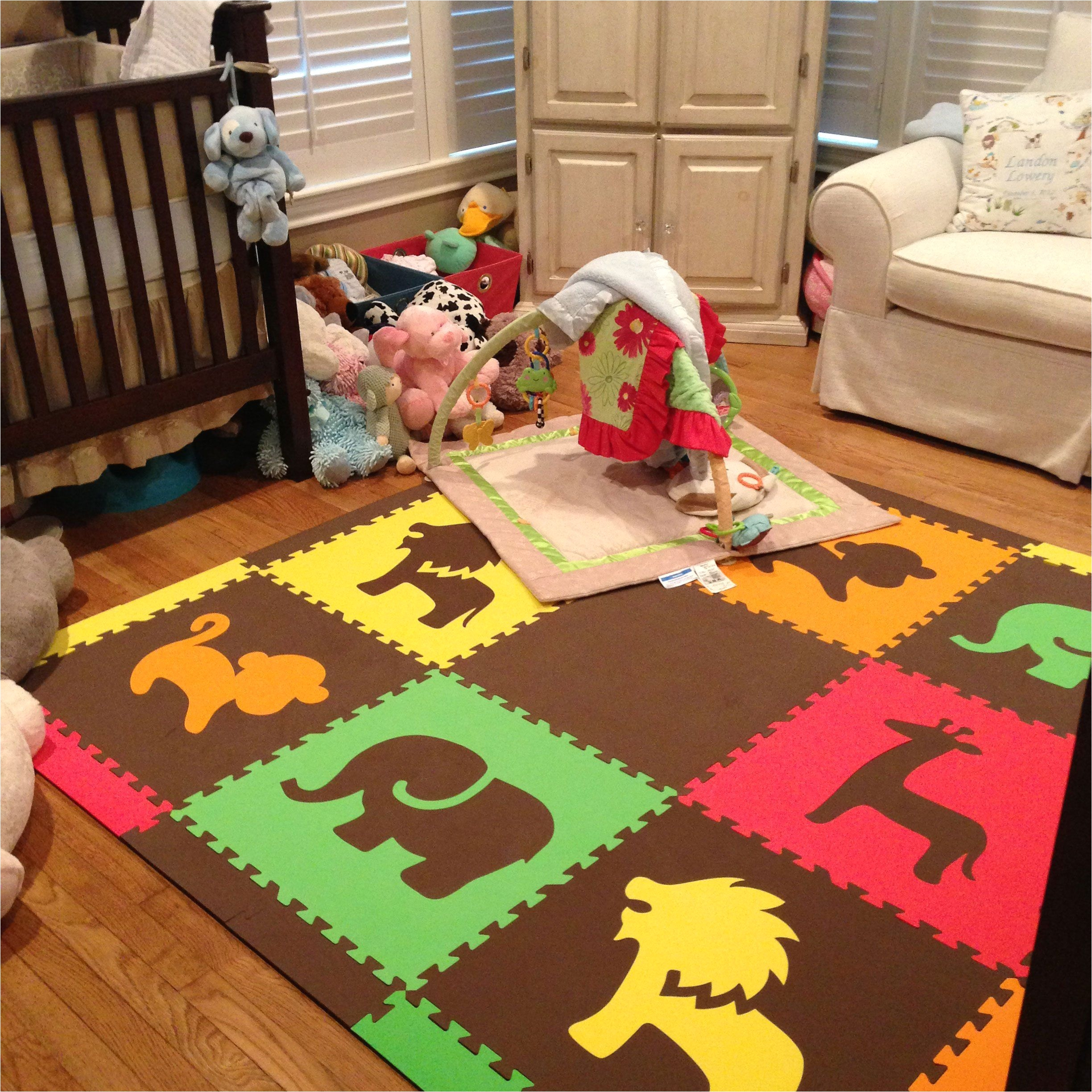 softtiles safari animals premium interlocking foam large children s play mat red yellow orange lime brown x roylb