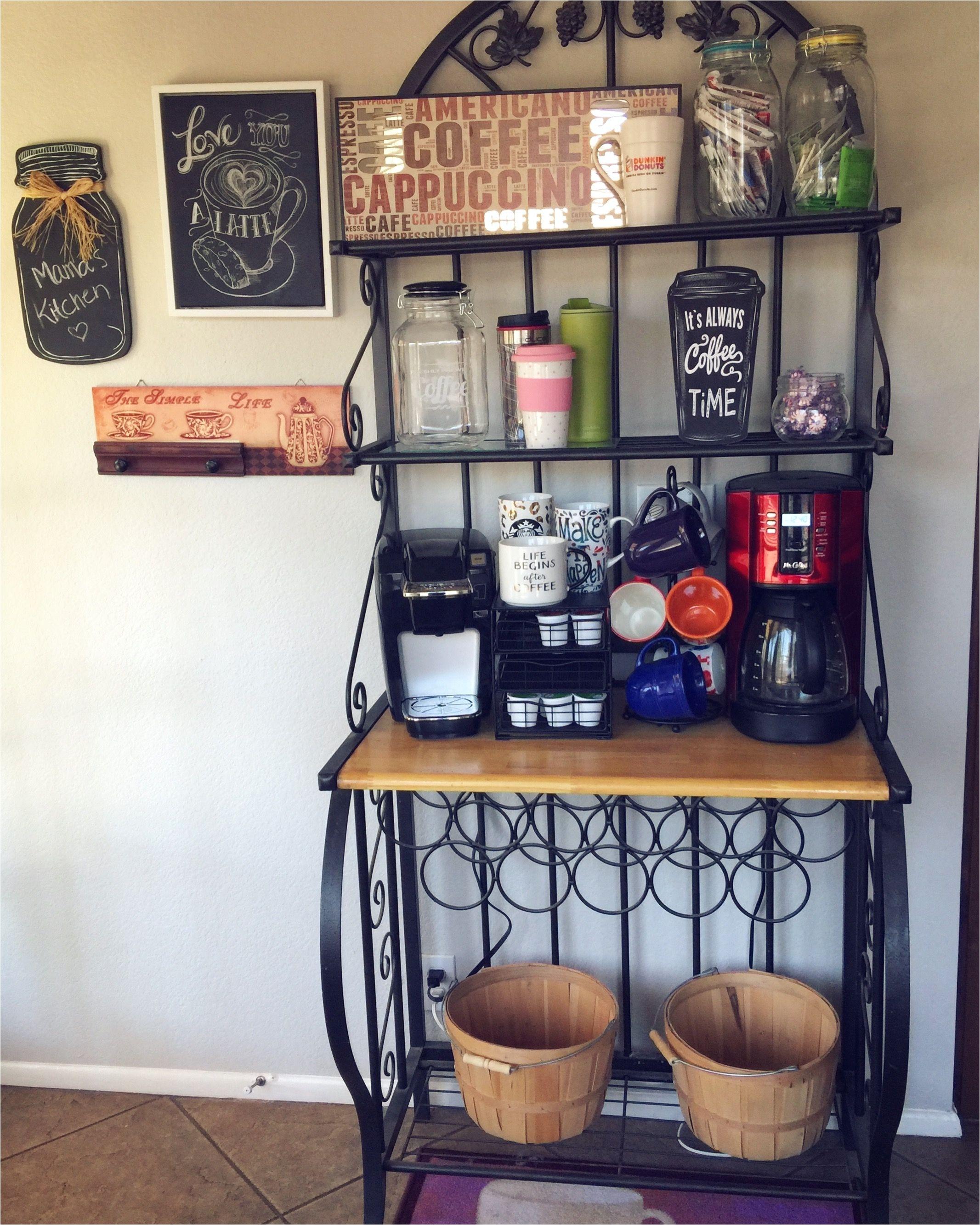 bakers rack coffee bar idea