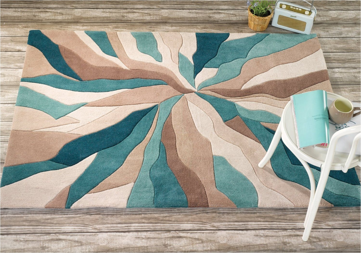 amazon com large quality modern heavyweight modern art design turquoise beige area rug in 4 x 5 6 120 x 170 cm carpet machine made rugs