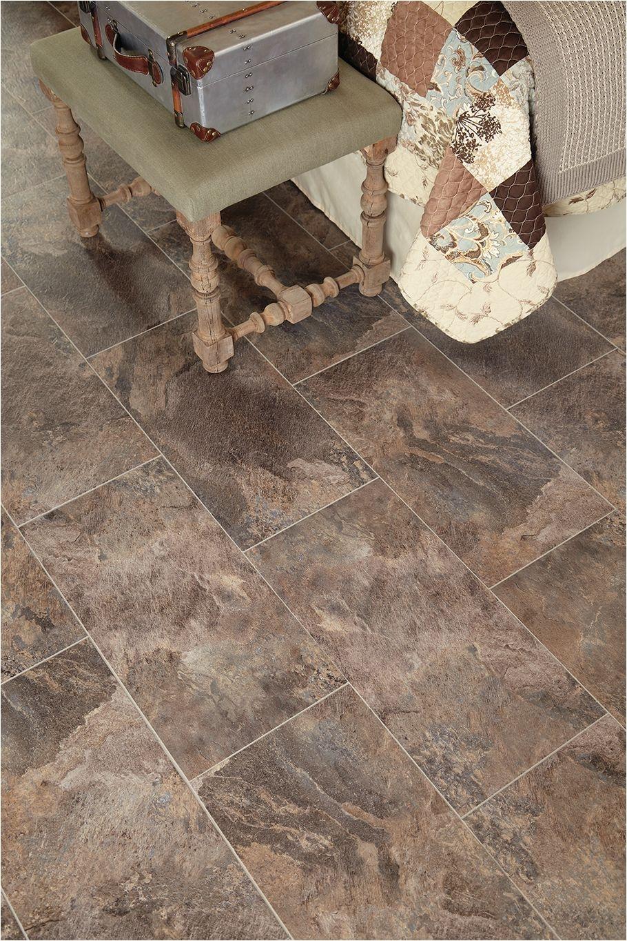 stainmastera 12 in x 24 in groutable harbor slate brown peel and stick slate luxury vinyl tile