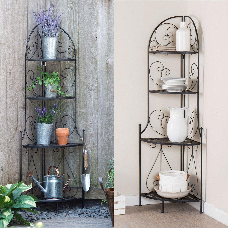 indoor outdoor corner bakers rack folding metal plant stand with 4 shelves
