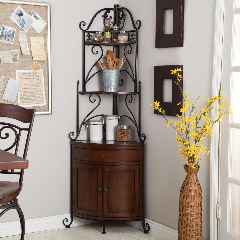 corner bakers rack with wine storage
