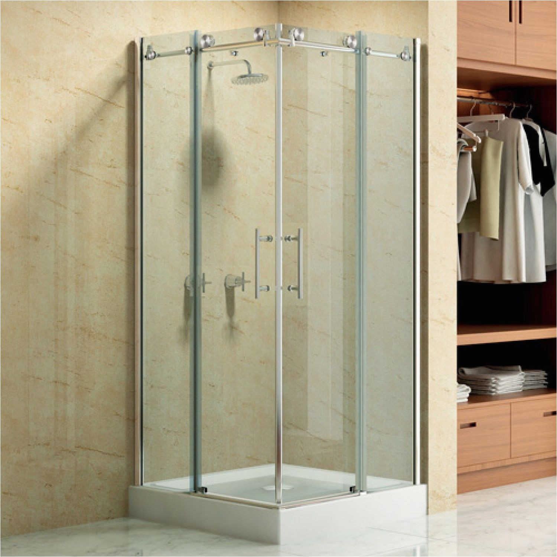 36 x 36 square frameless corner shower enclosure with dual sliding doors bathroom