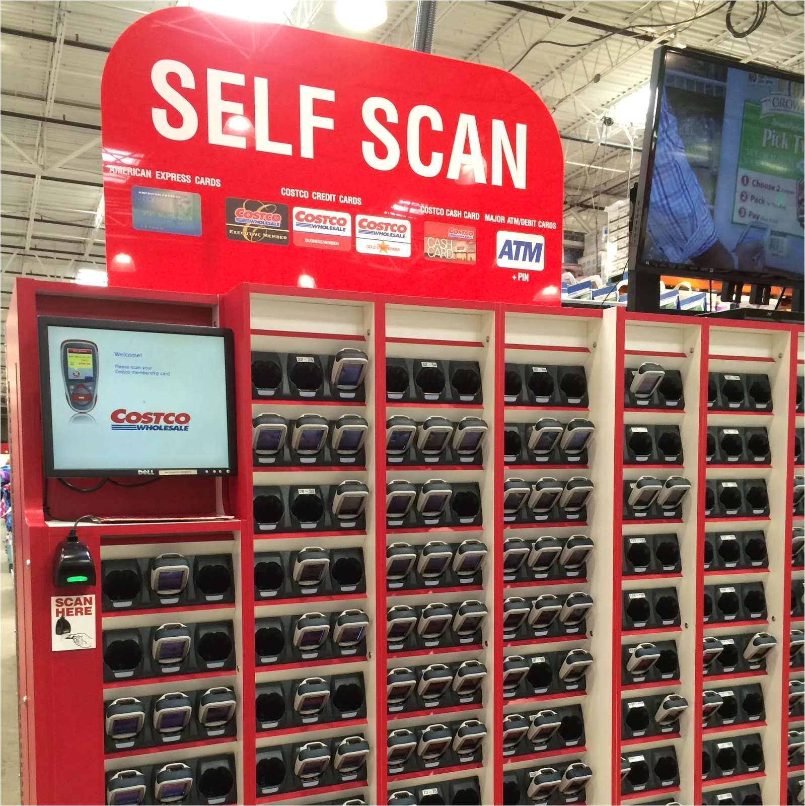 all of the carts were equipped with holsters for the scanner so they were readily accesaible while you shopped