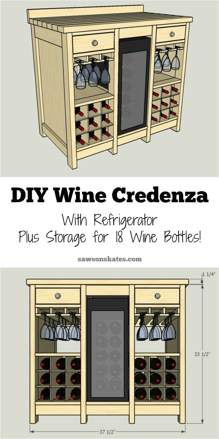 one of the best wine storage cabinet ideas i ve seen this small diy wine credenza features a wine refrigerator wine glass storage plus storage for 18