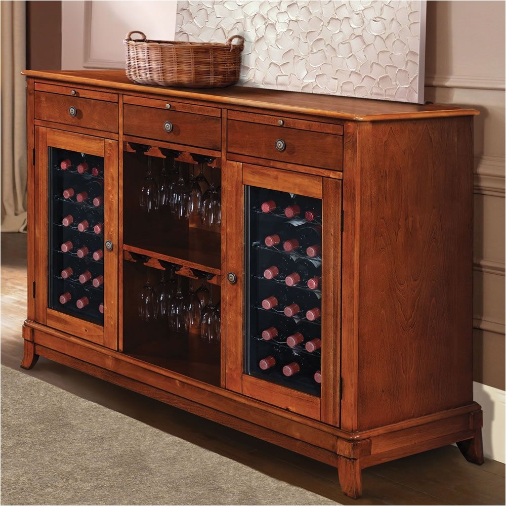 the sommelier s dual temperature wine credenza hammacher schlemmer