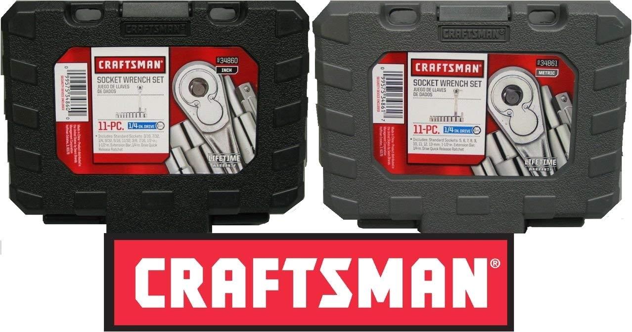 craftsman 22 piece 1 4 drive ratchet socket set standard and metric 934860 934861 amazon com