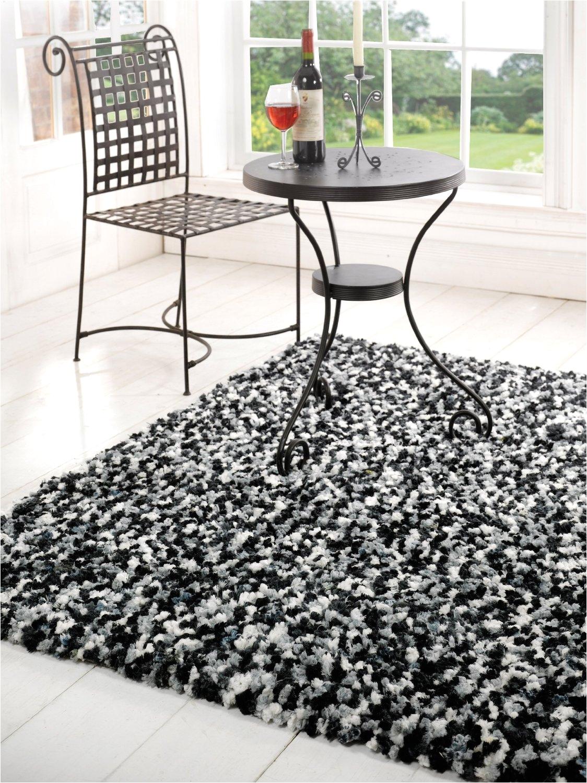 shag black and white modern rug