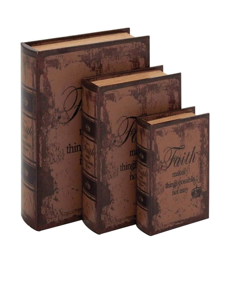 Decorative Book Box Sets Leather Book Box Set Decor with Faith Inspirational theme Tuscan