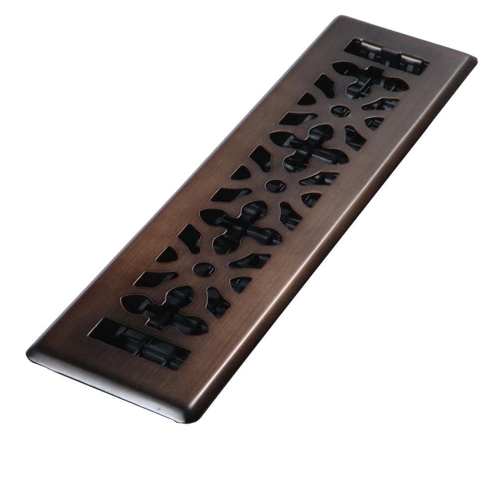 steel rubbed bronze gothic design floor register
