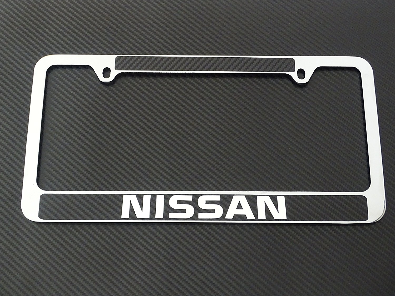 get quotations a nissan license plate frame chrome metal carbon fiber details chrome text
