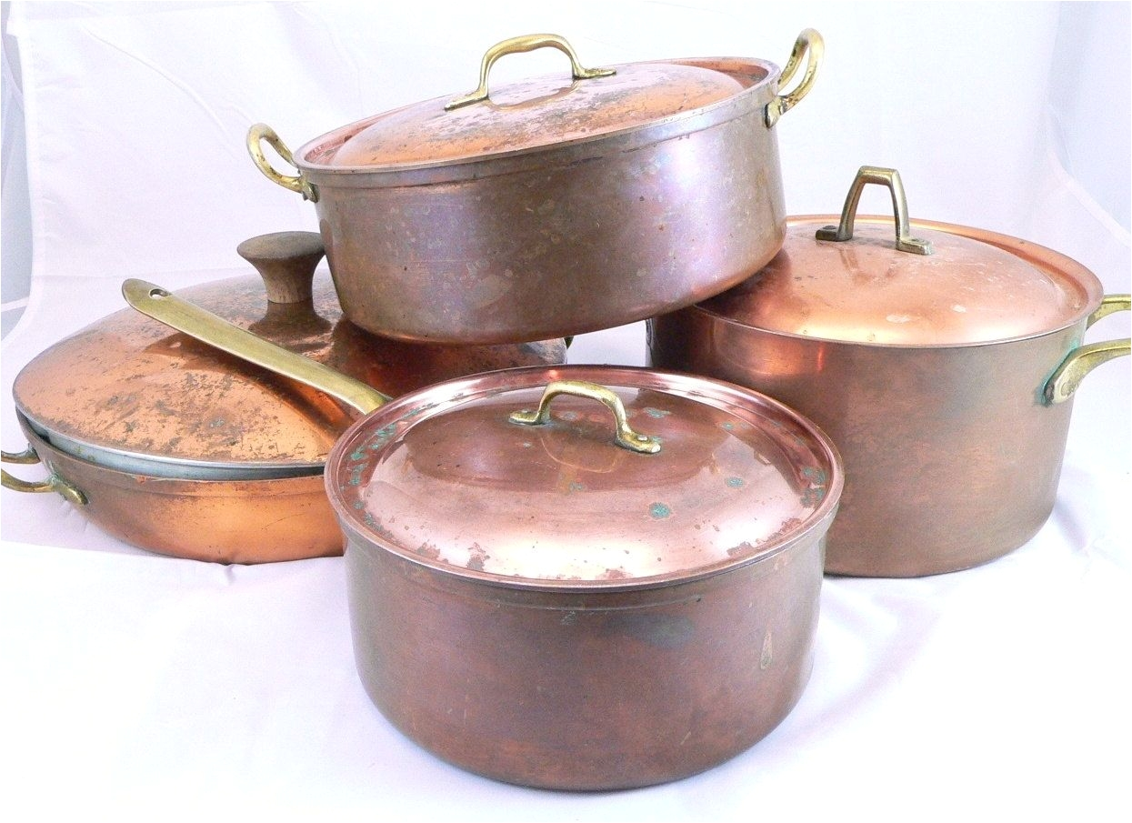 vintage 8 eight piece copper pots and pans set by fineredefined