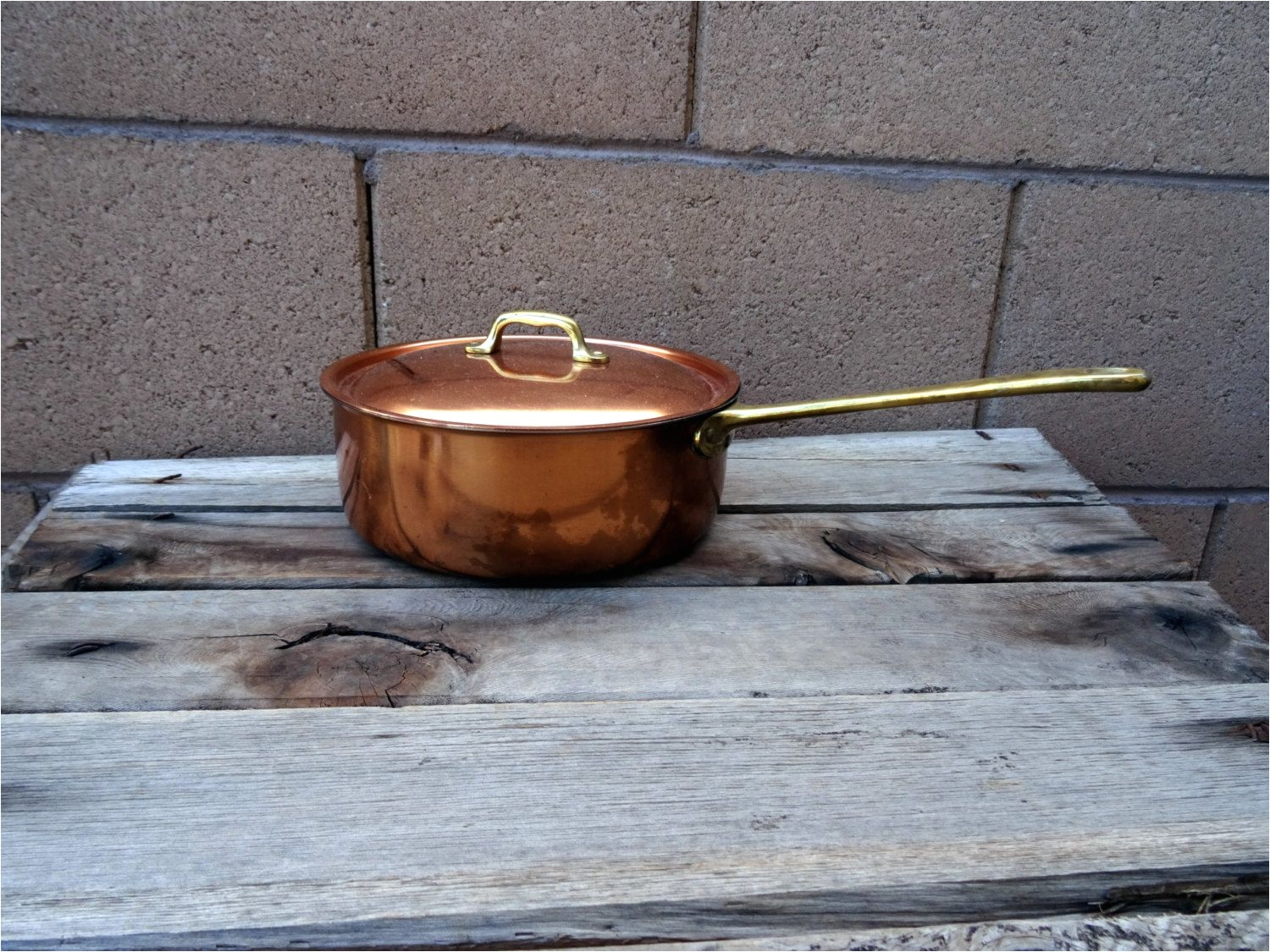vintage copper sauce pan lidded copper copper pot french kitchen style copper cookware copper 1 1 2 quart pan mediterranean kitchen