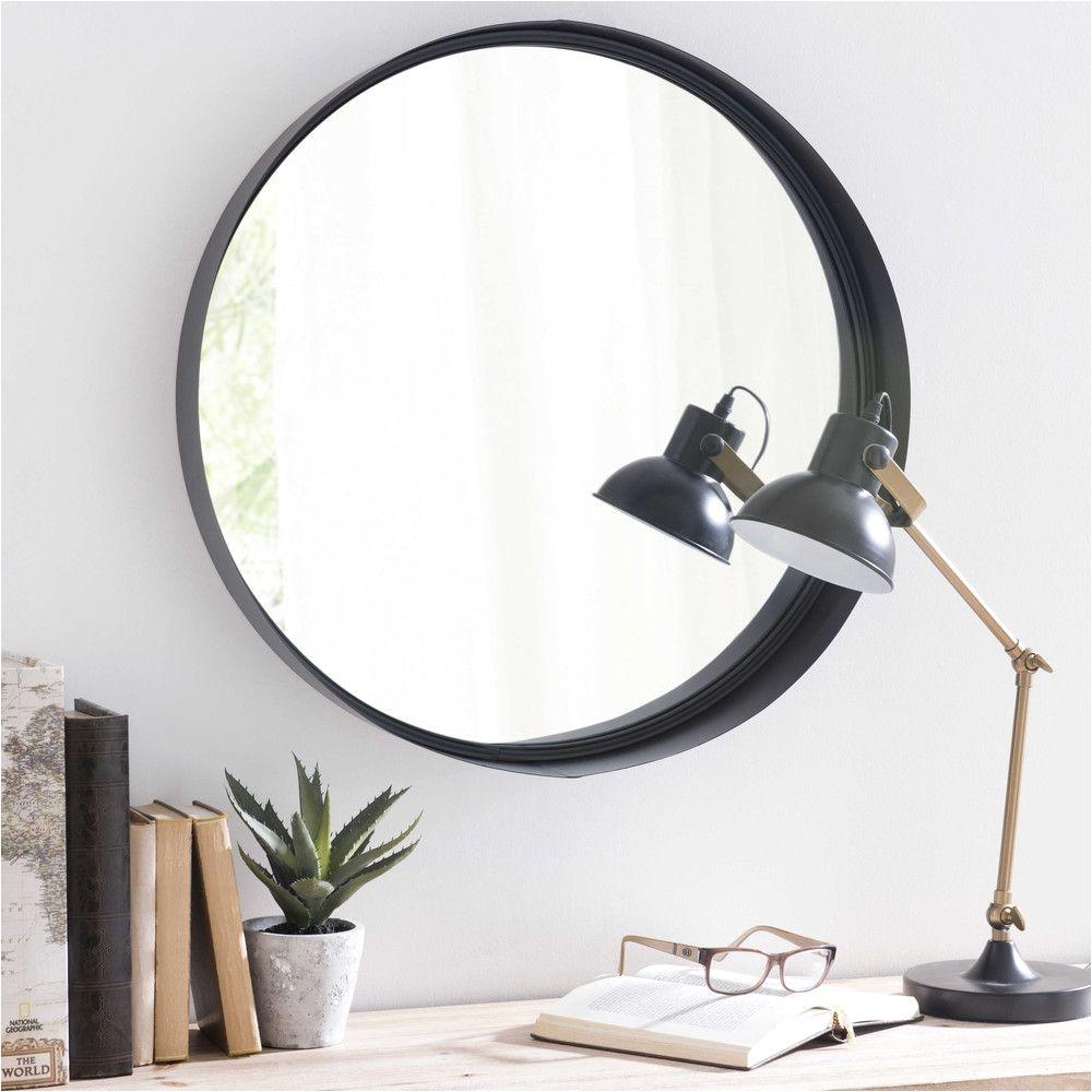 spiegel clifford mit metallrahmen d 60 cm schwarz