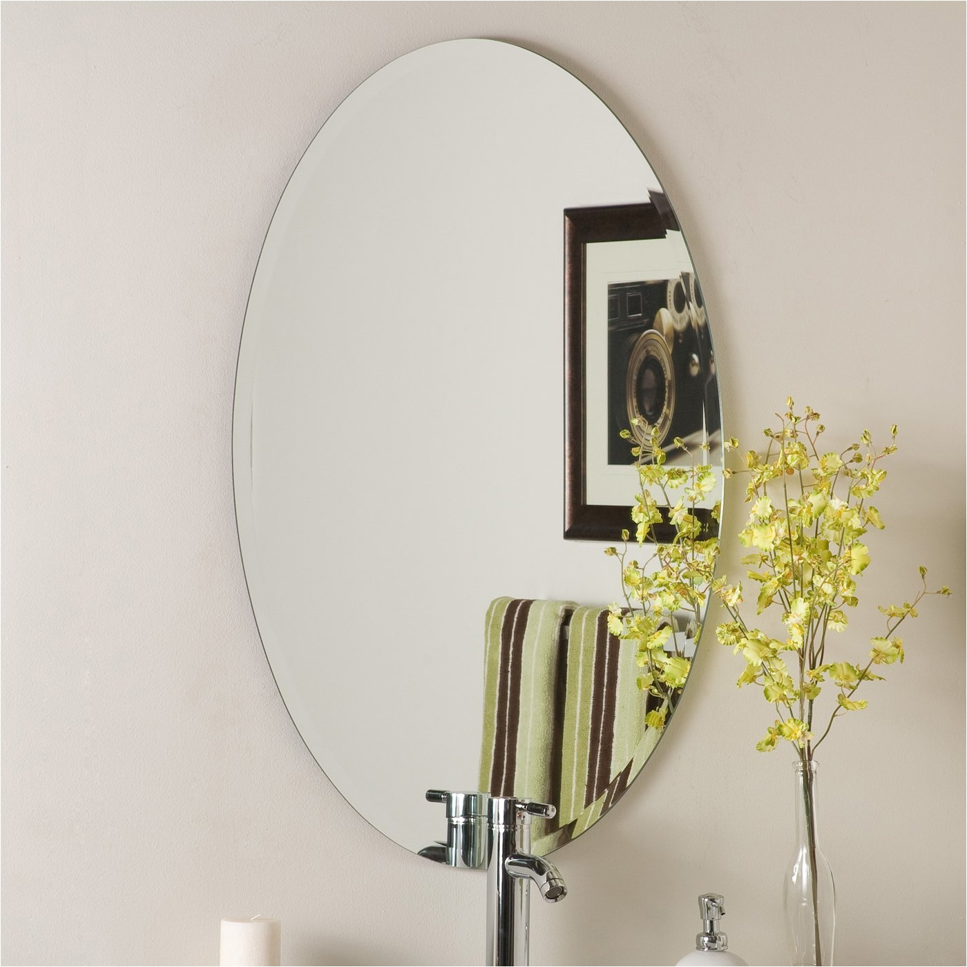 image of frameless beveled mirror decor