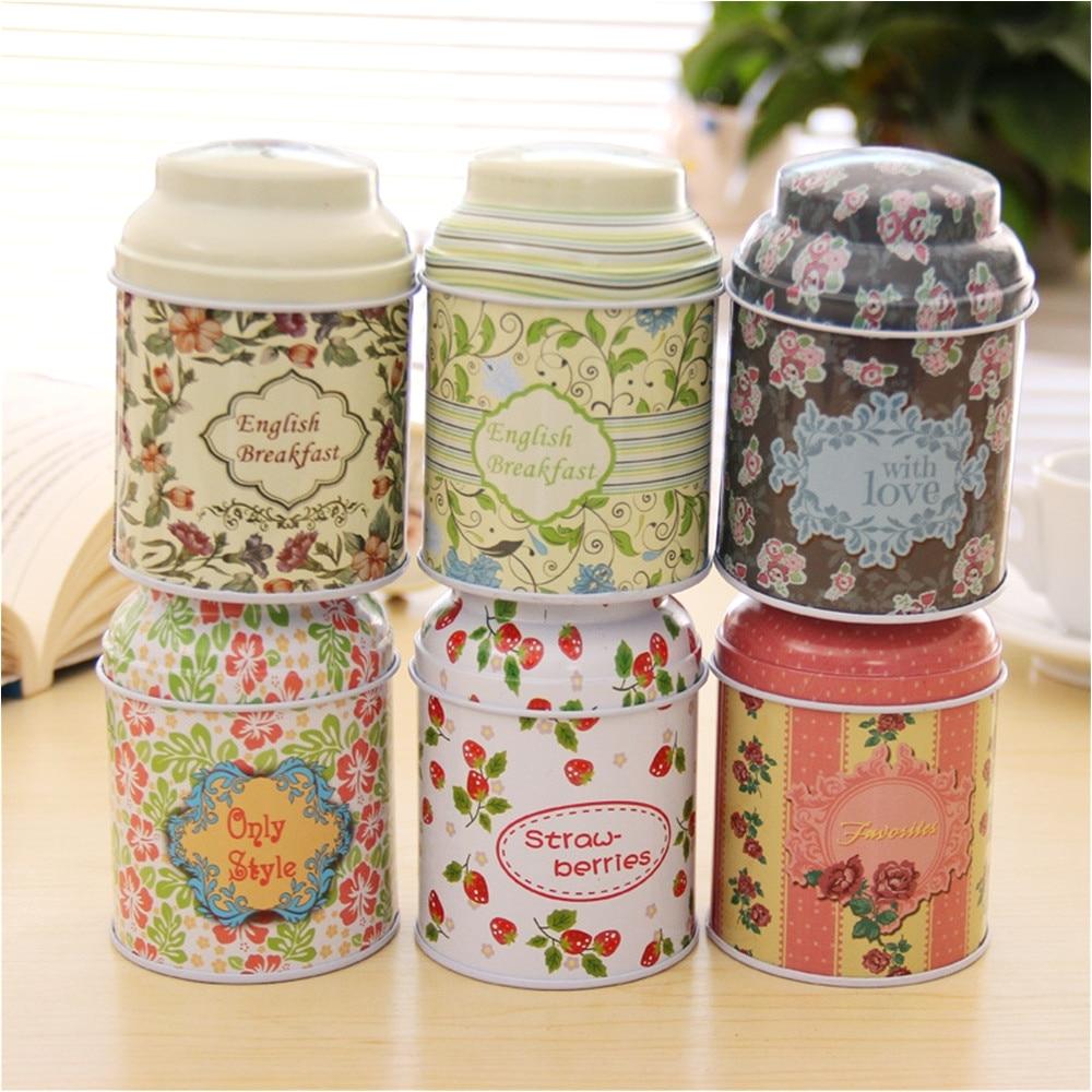 6pcs korean pastoral iron storage tank box round sealed cans coffee tea tin container vintage romance