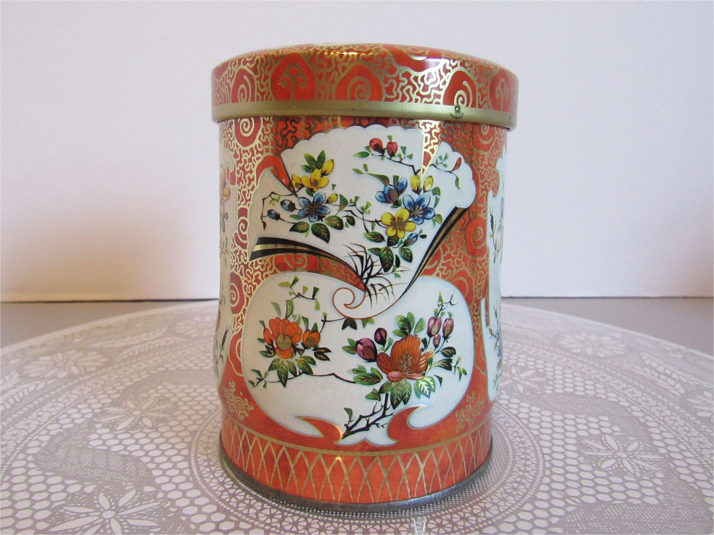 vintage daher tin orange asian floral metal tin vintage decorative tea storage tin container canister decor