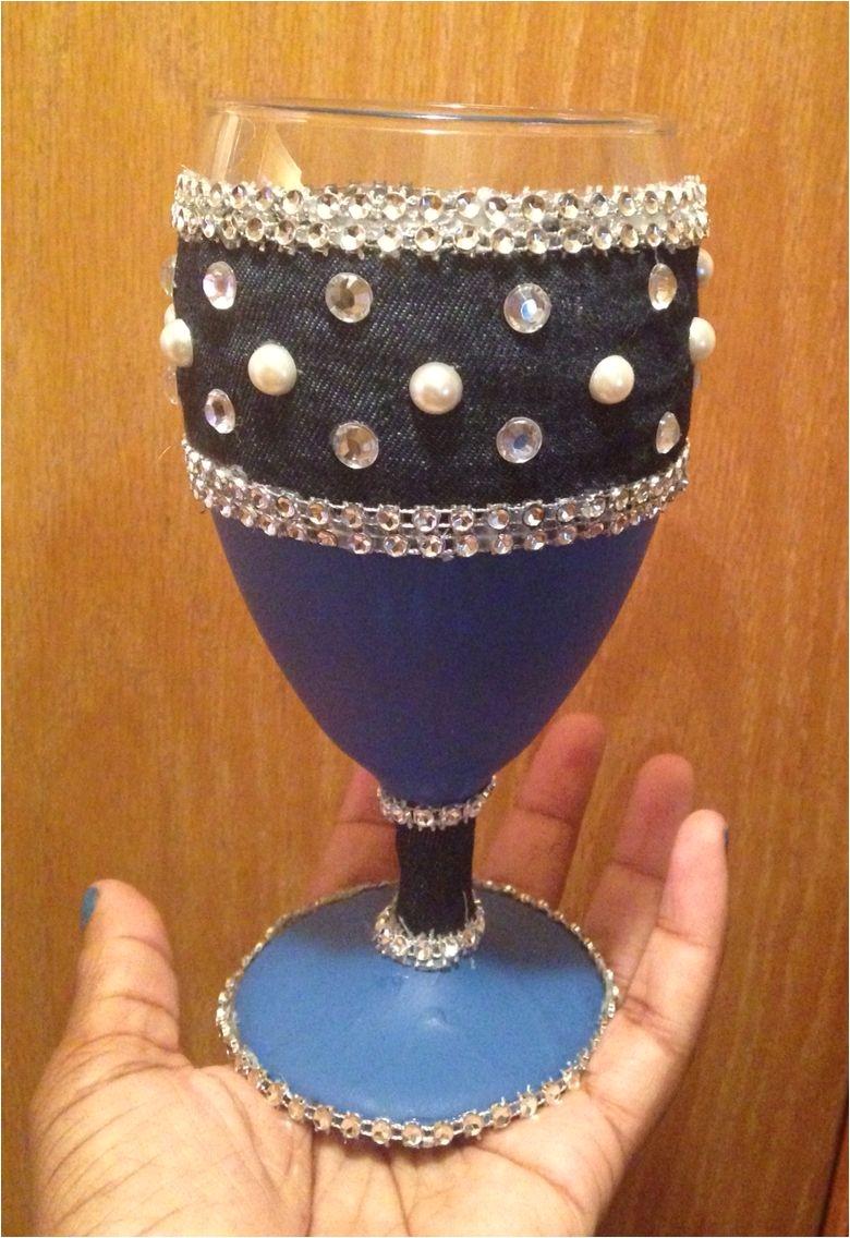 denim diamond wine glass