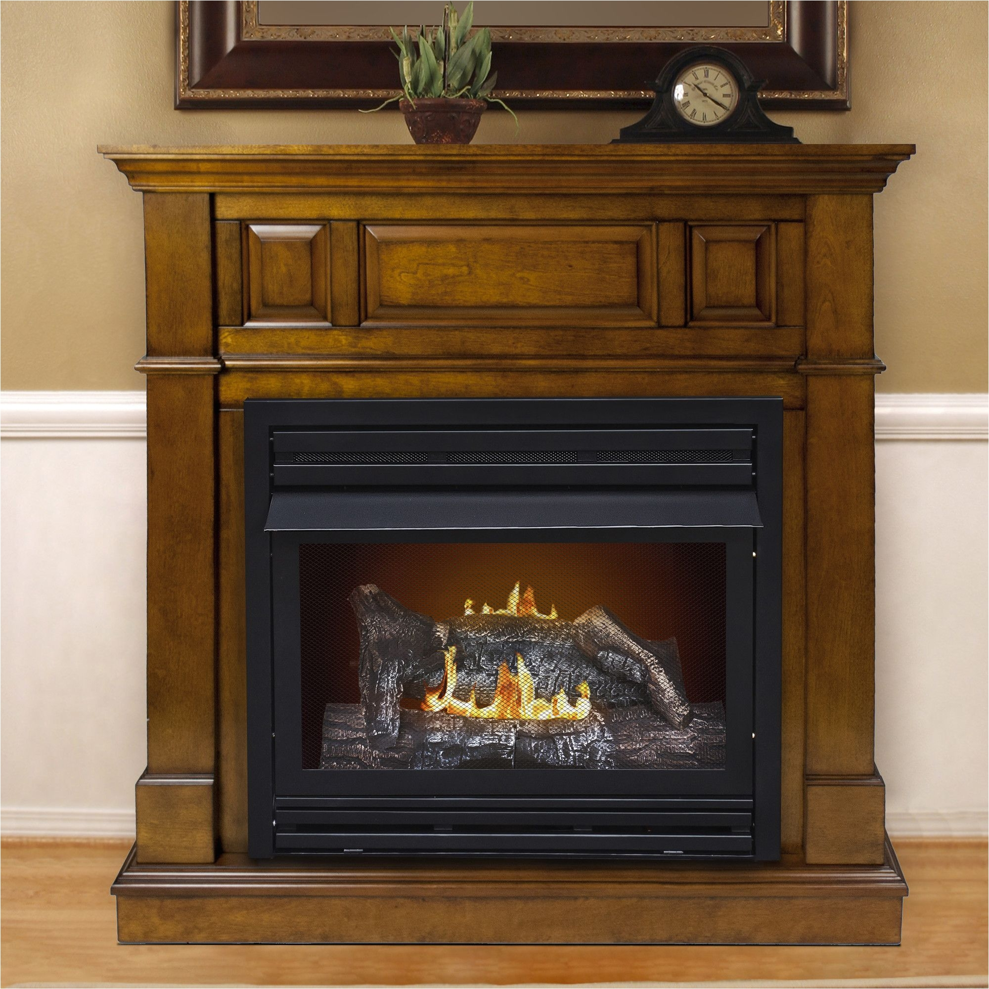 dual fuel vent free wall mount gas fireplace