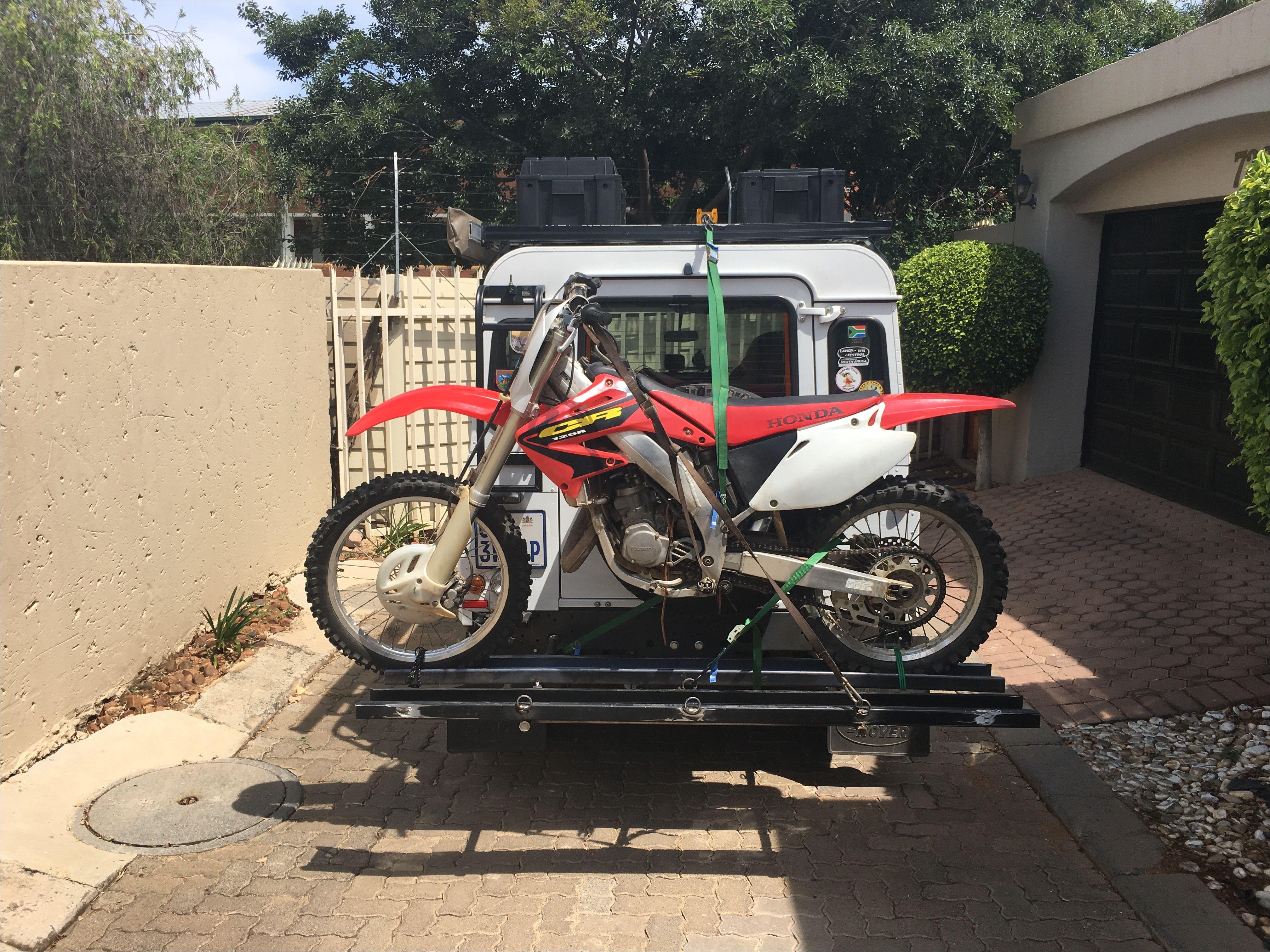 custom dirt bike rack specifically designed for land rover defender bumper