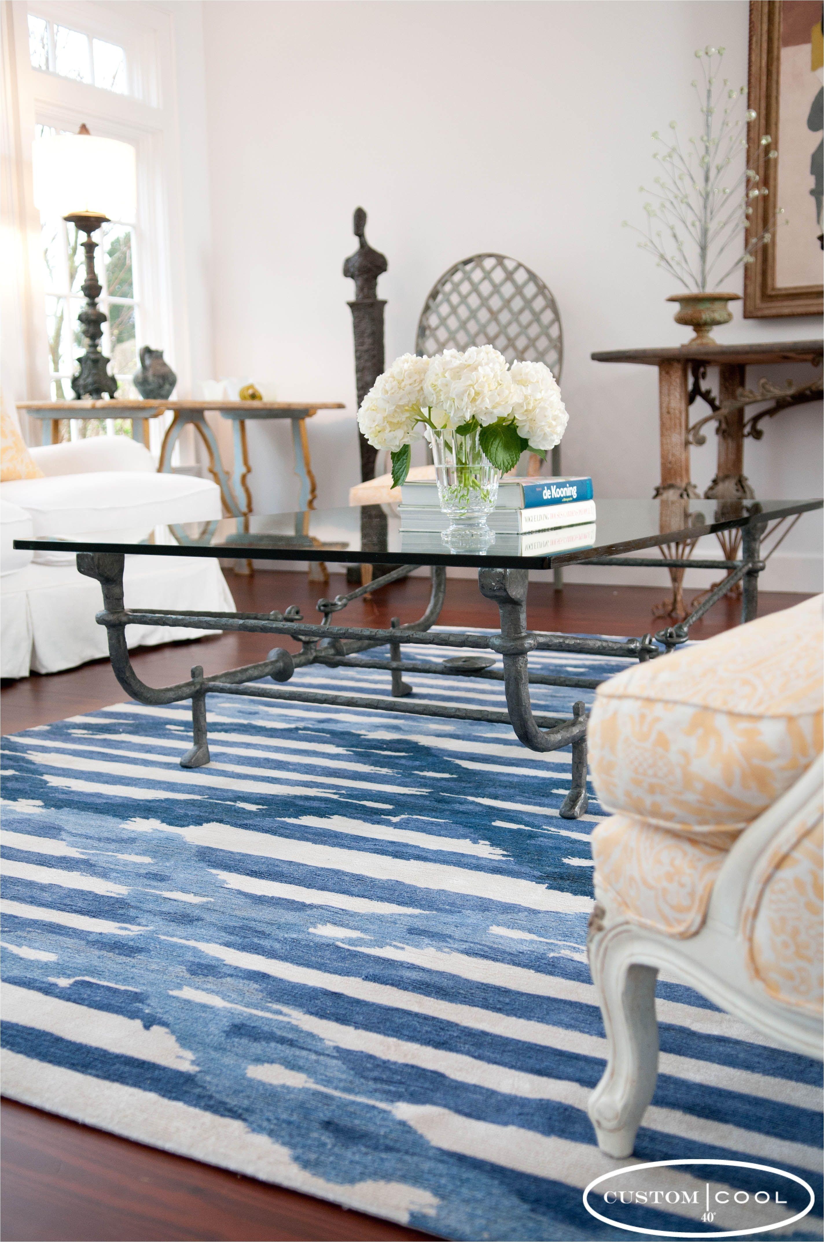 custom cool ikat stripe rug blue
